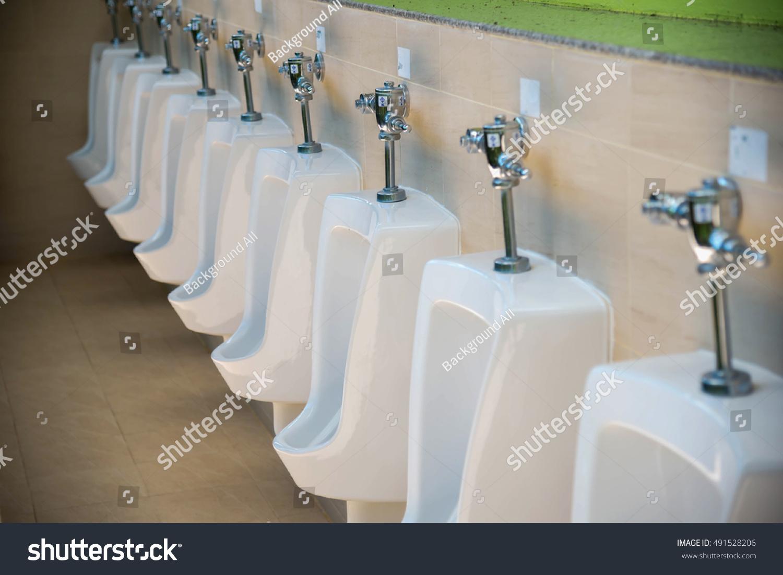 Row Outdoor Urinals Men Public Toilet Closeup Stock Photo (100 ...
