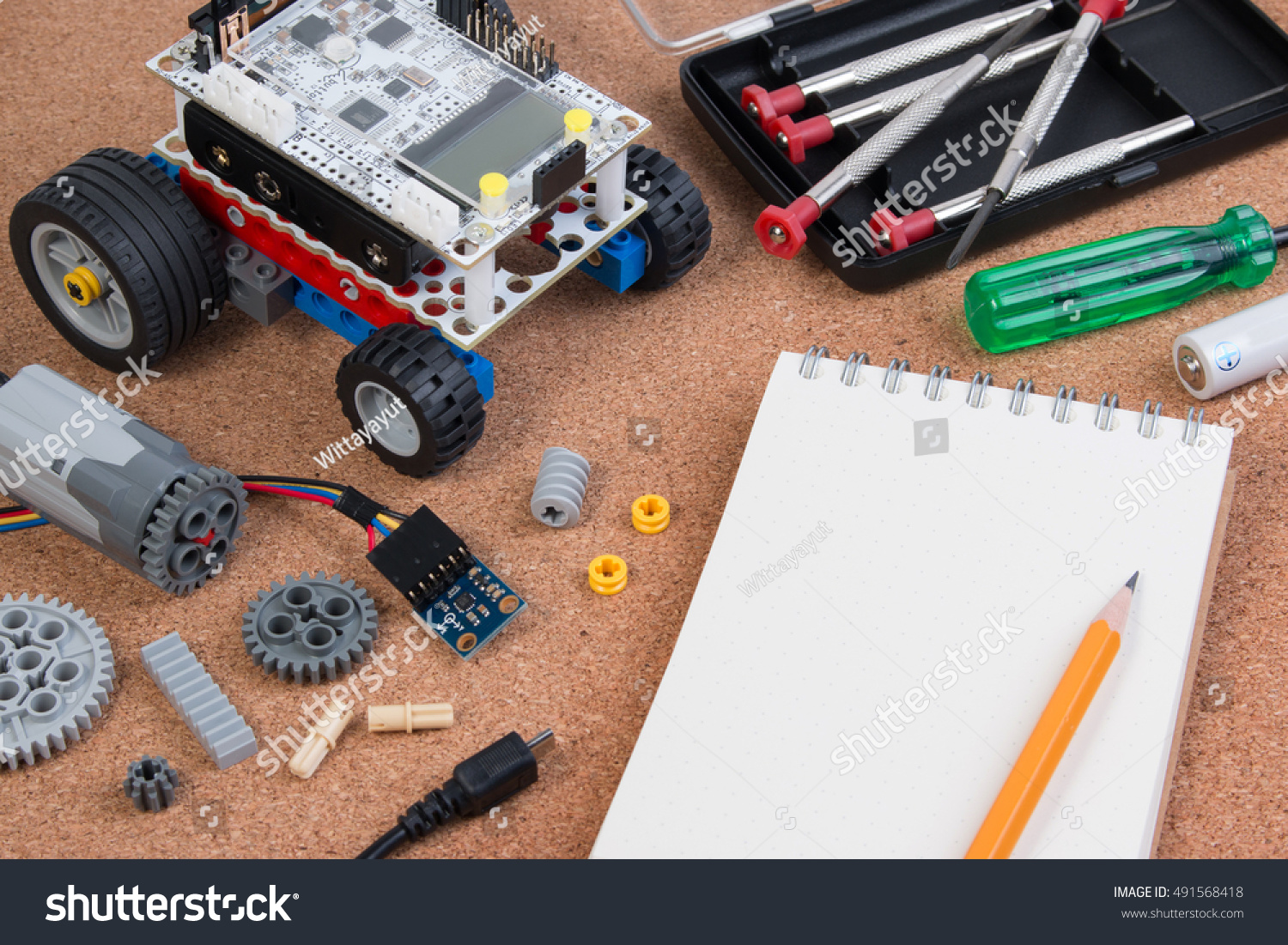 Diy Electronic Components Make Robot On Stock Photo Edit Now How To Build Circuit For White Background With