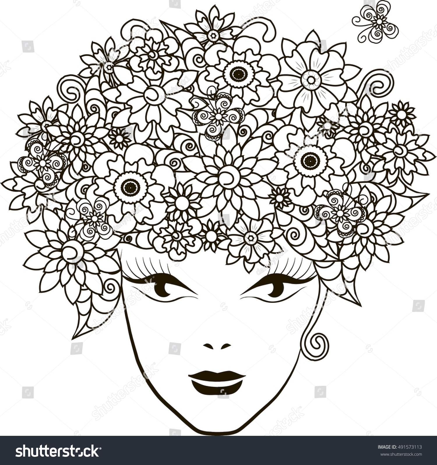 Girl Flowers Hair Coloring Page Antistress Stock Vector 491573113 ...