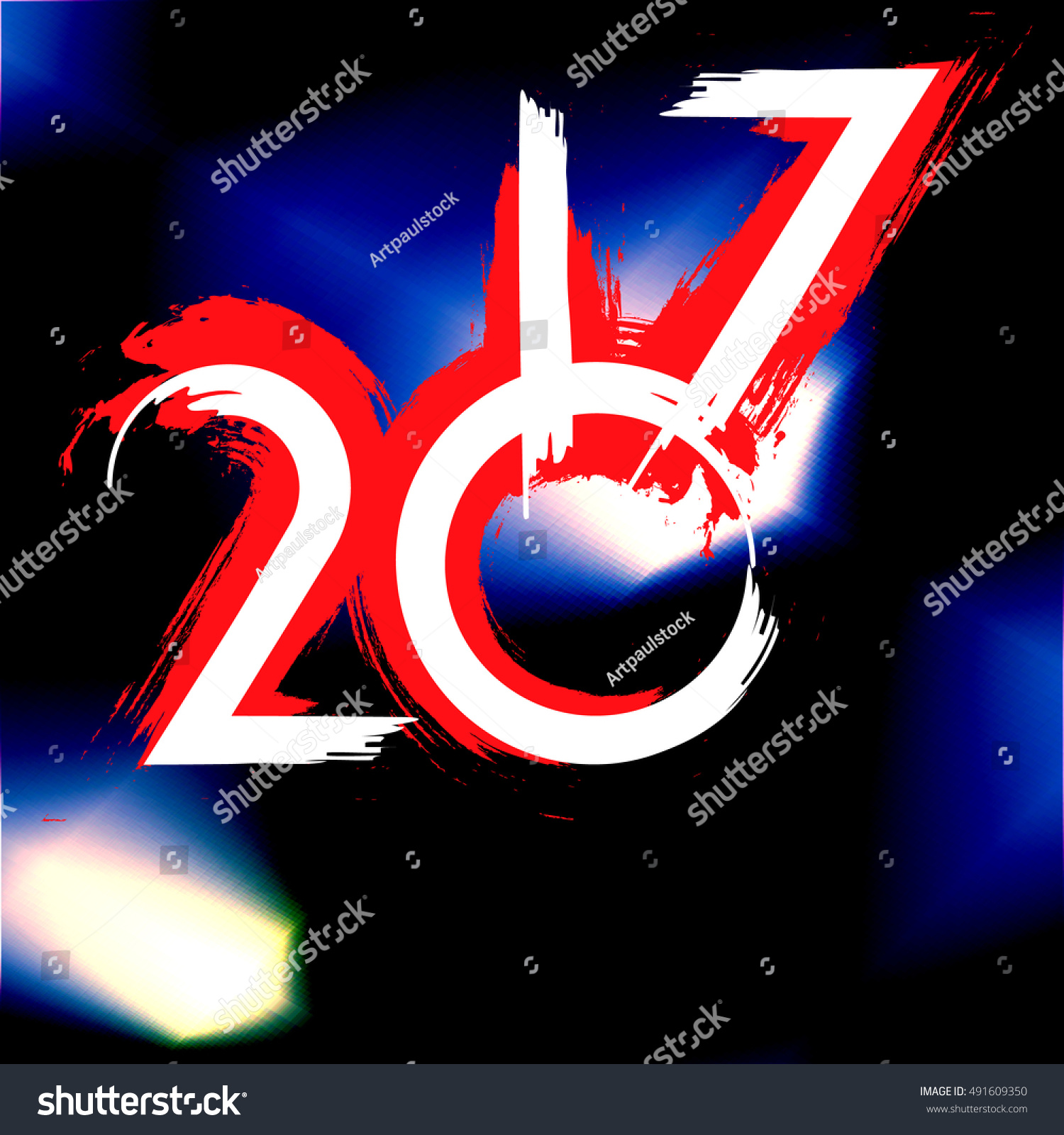 Futuristic Clock Background Abstract Flash 2017 New Year Stock Illustration