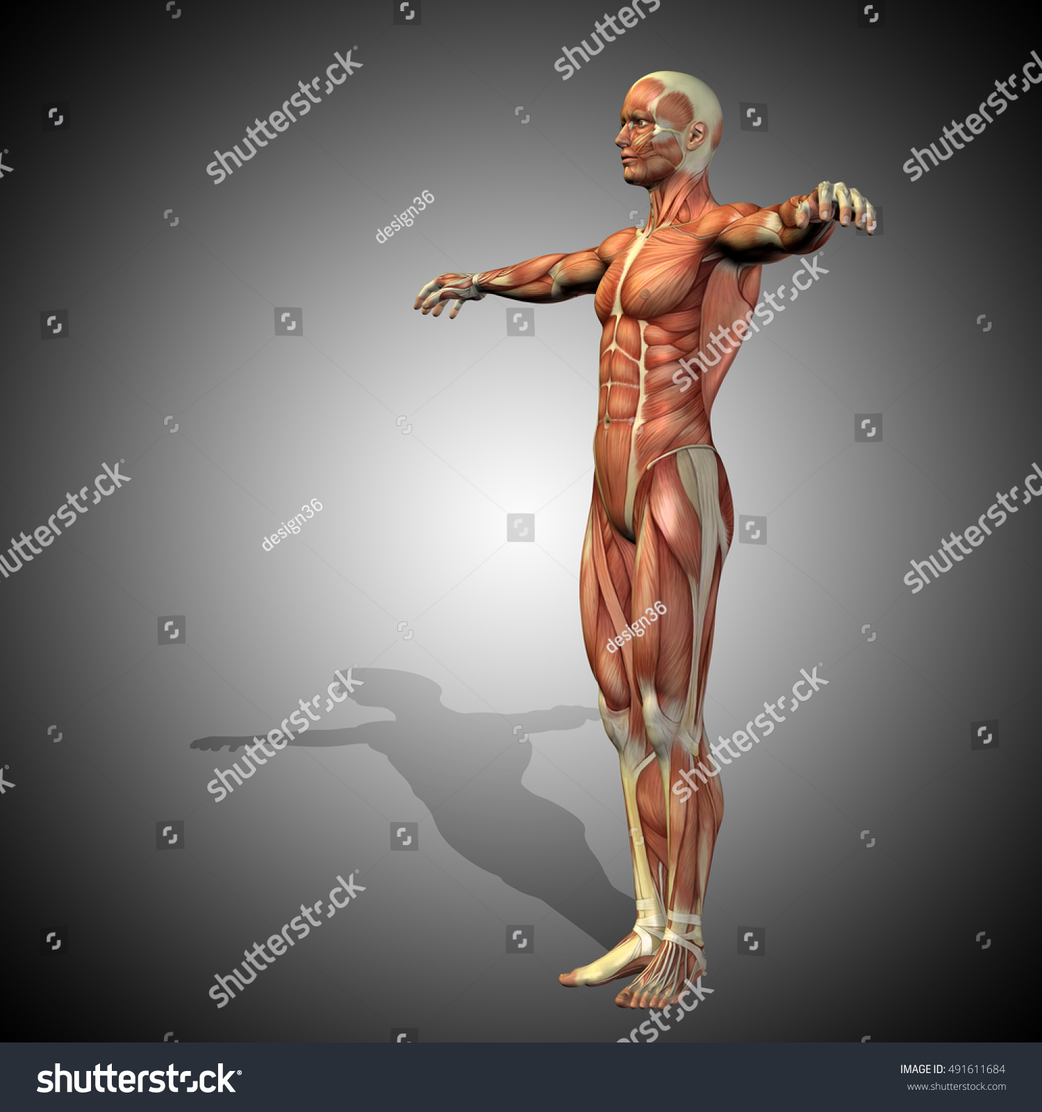 Concept Strong Human Man 3 D Illustration Stock Illustration