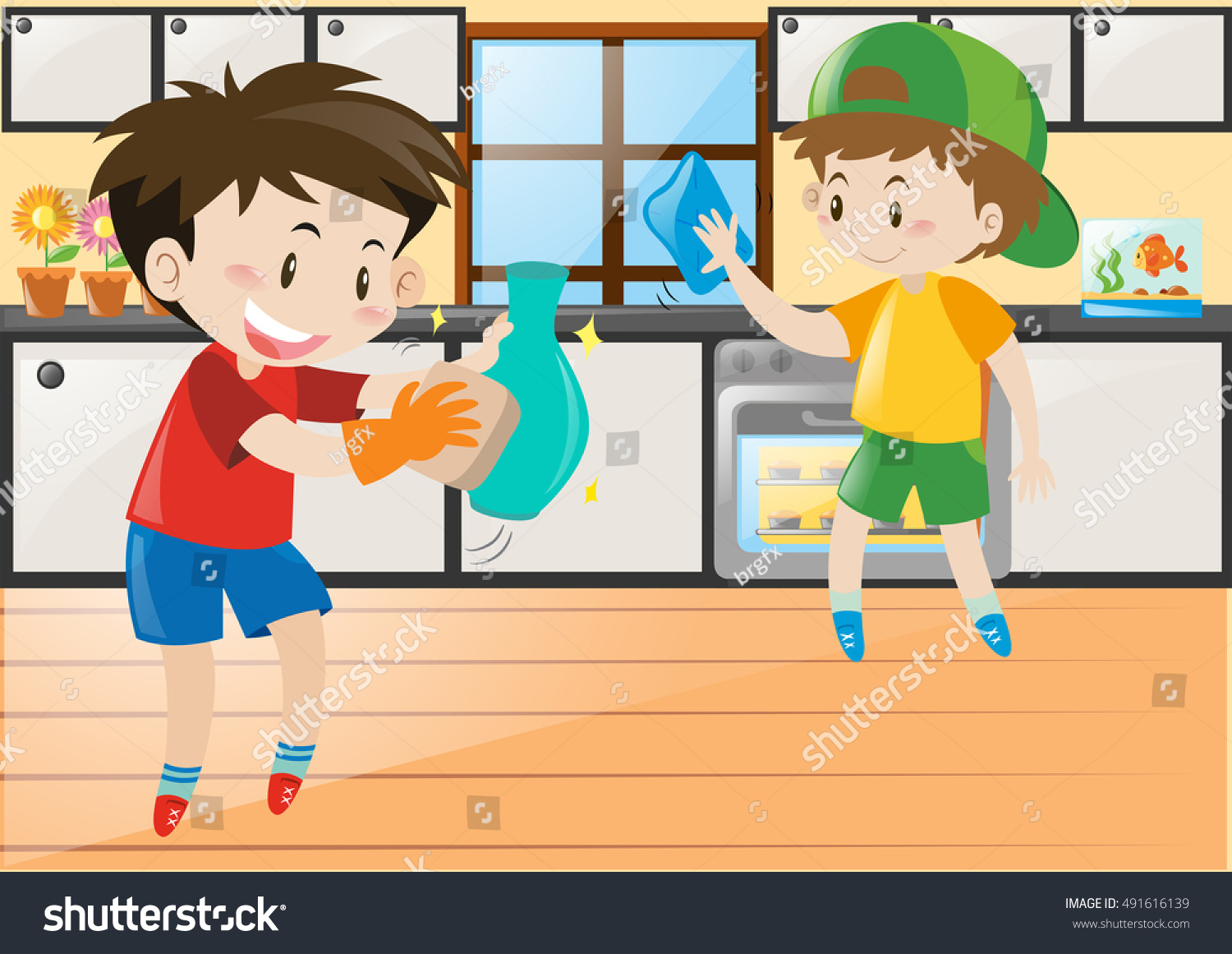 Play kitchen clip art - Two Boys Cleaning In The Kitchen Illustration