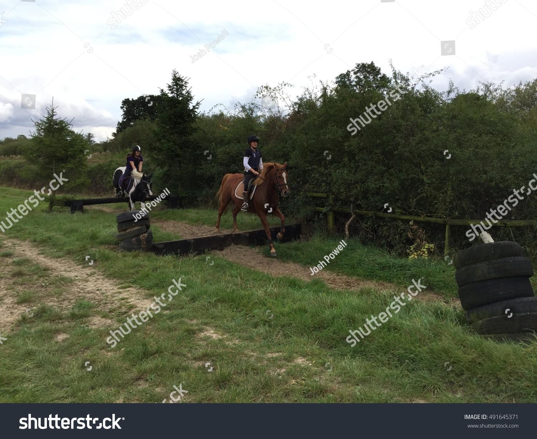 Female Horse Riders Jumping Chestnut Cob Stock Photo Edit Now 491645371