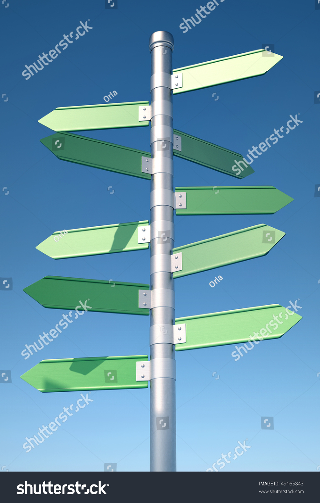 Blank Directional Sign Pointing All Ways 3d Render