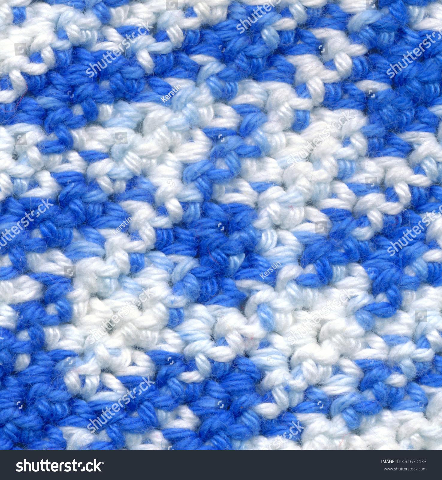 Closeup Crochet Pattern Blue White Made Stock Photo Edit Now