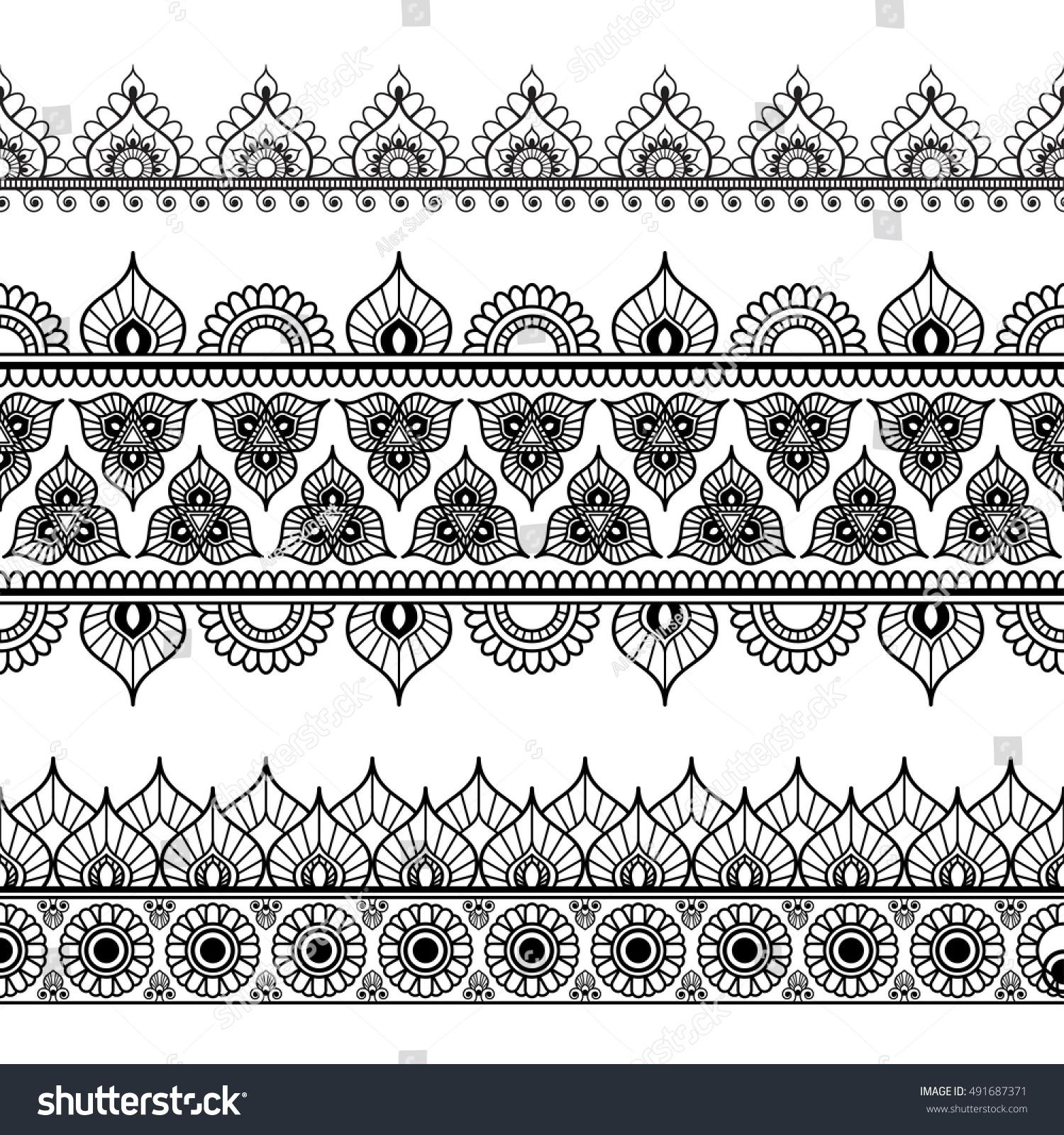 Border Line Lace Mehndi Elements Indian Stock Illustration 491687371