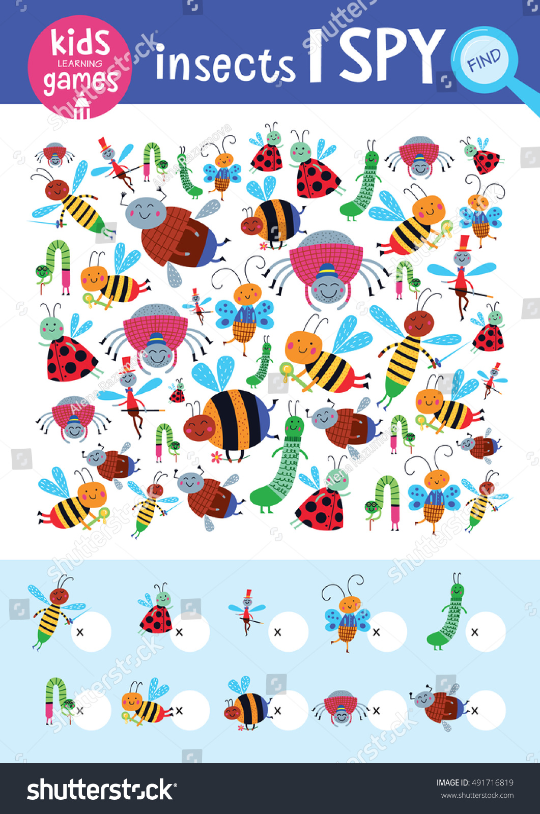 Find the same pictures and count it Kids learning games collection Cute insects