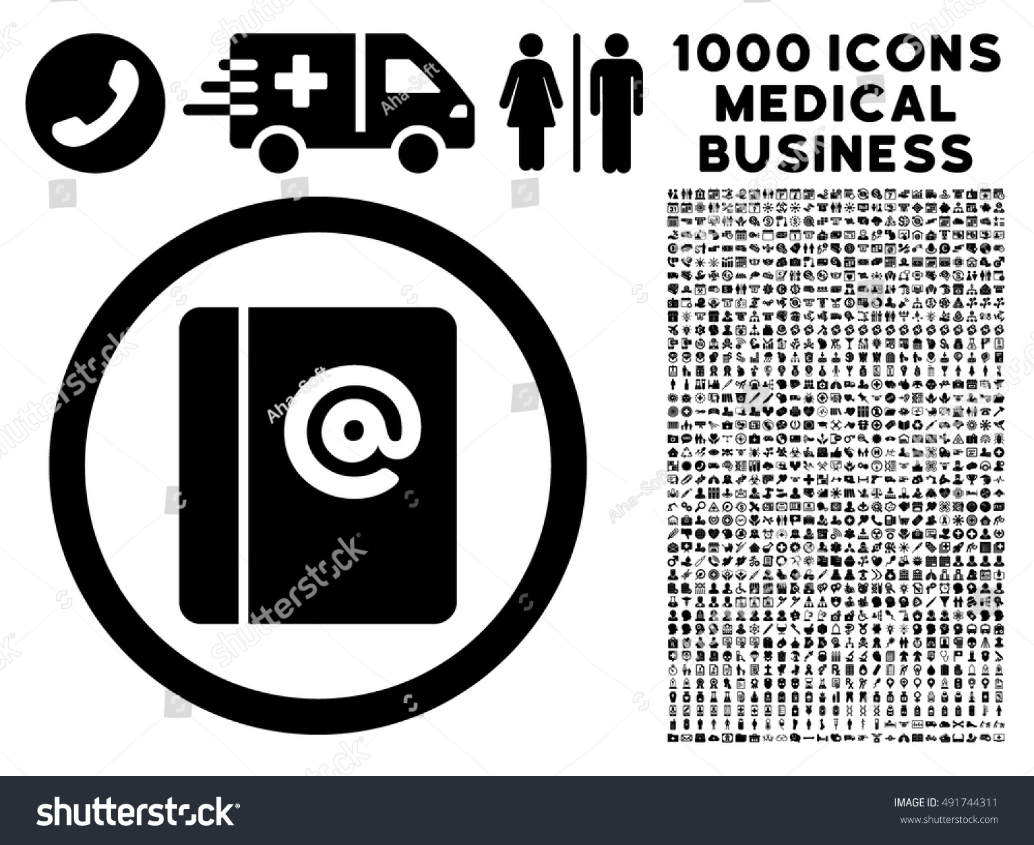 black emails vector rounded icon image stock vector 491744311