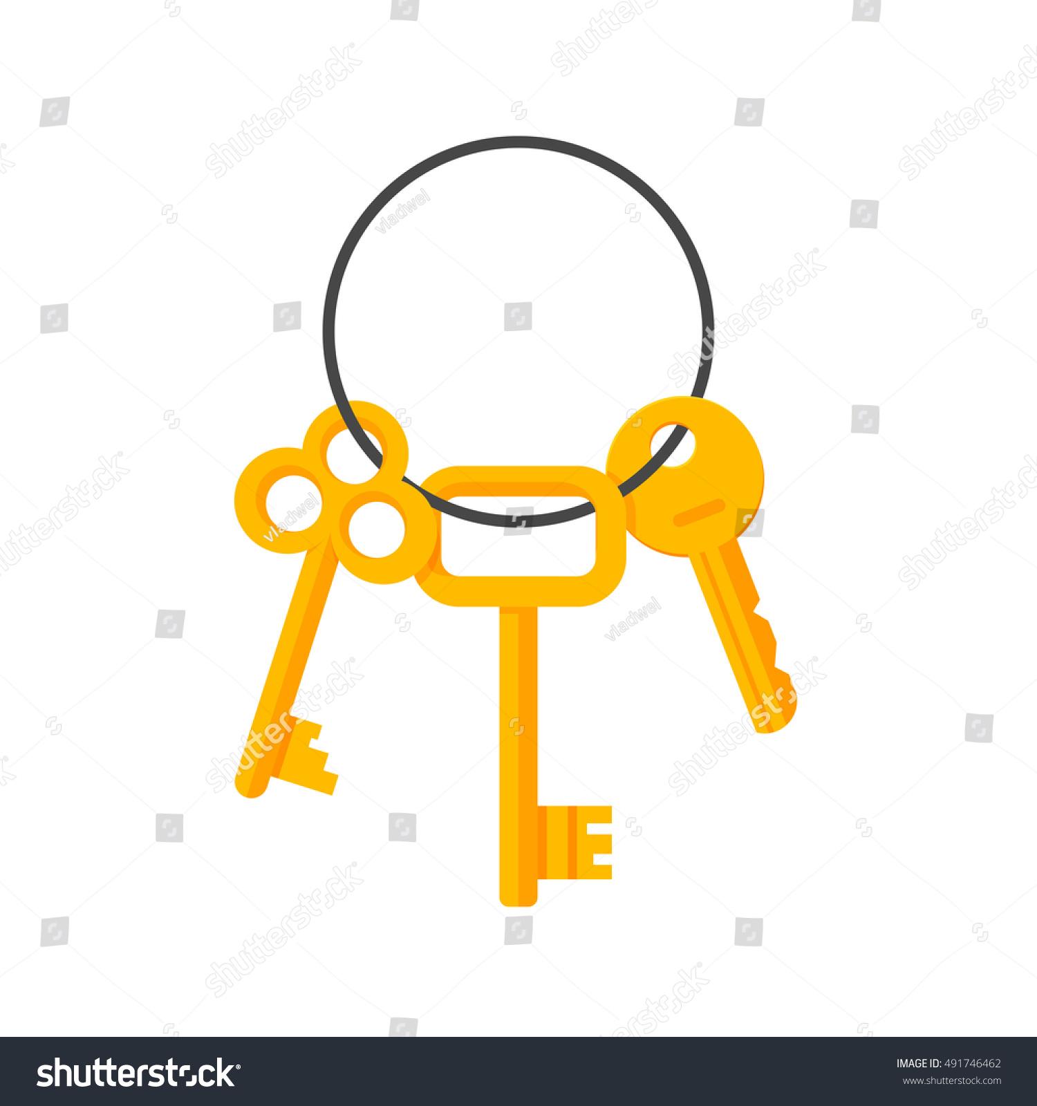 Vector Key Illustration: Keys Hanging On Key Ring Vector Stock Vector 491746462