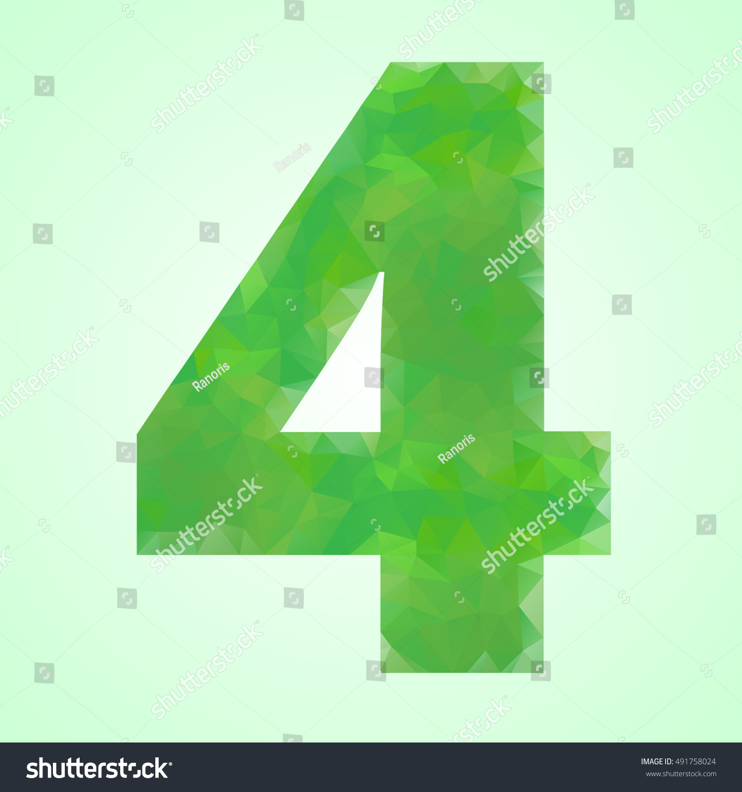 Number 4 Color Green Crystal Style Stock Vector 491758024 - Shutterstock