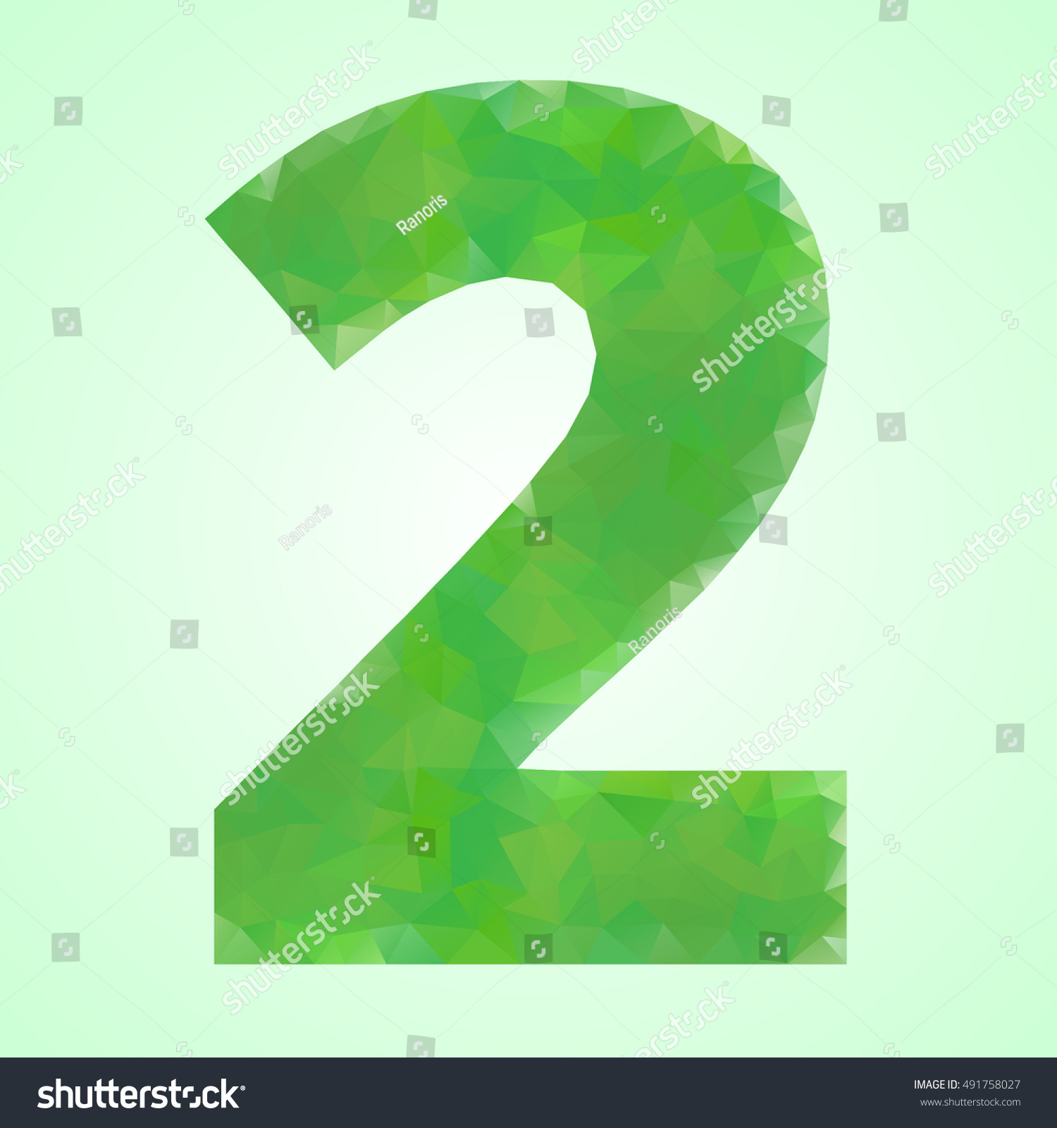 Number 2 Color Green Crystal Style Stock Vector 491758027 - Shutterstock