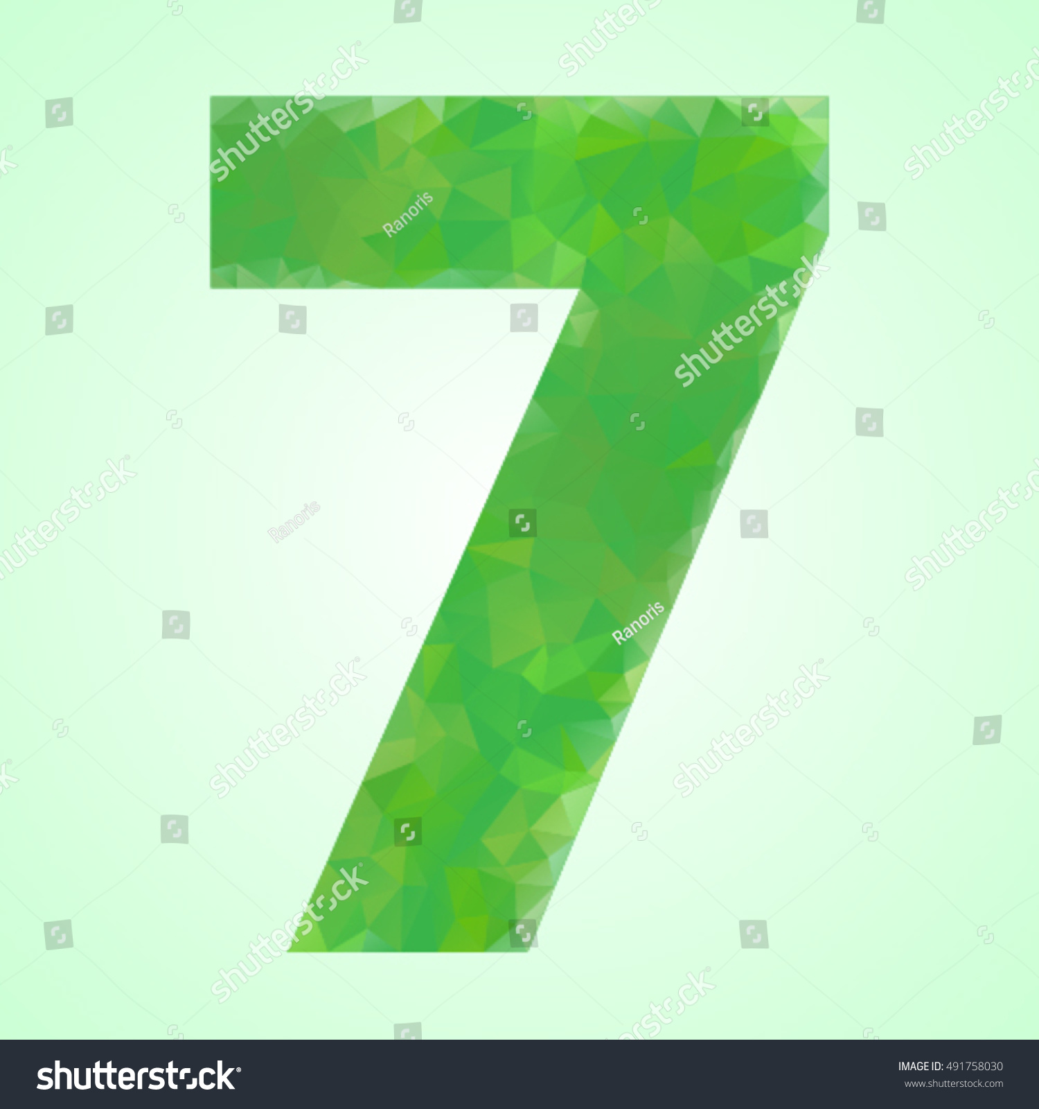 Number 7 Color Green Crystal Style Stock Vector 491758030 - Shutterstock