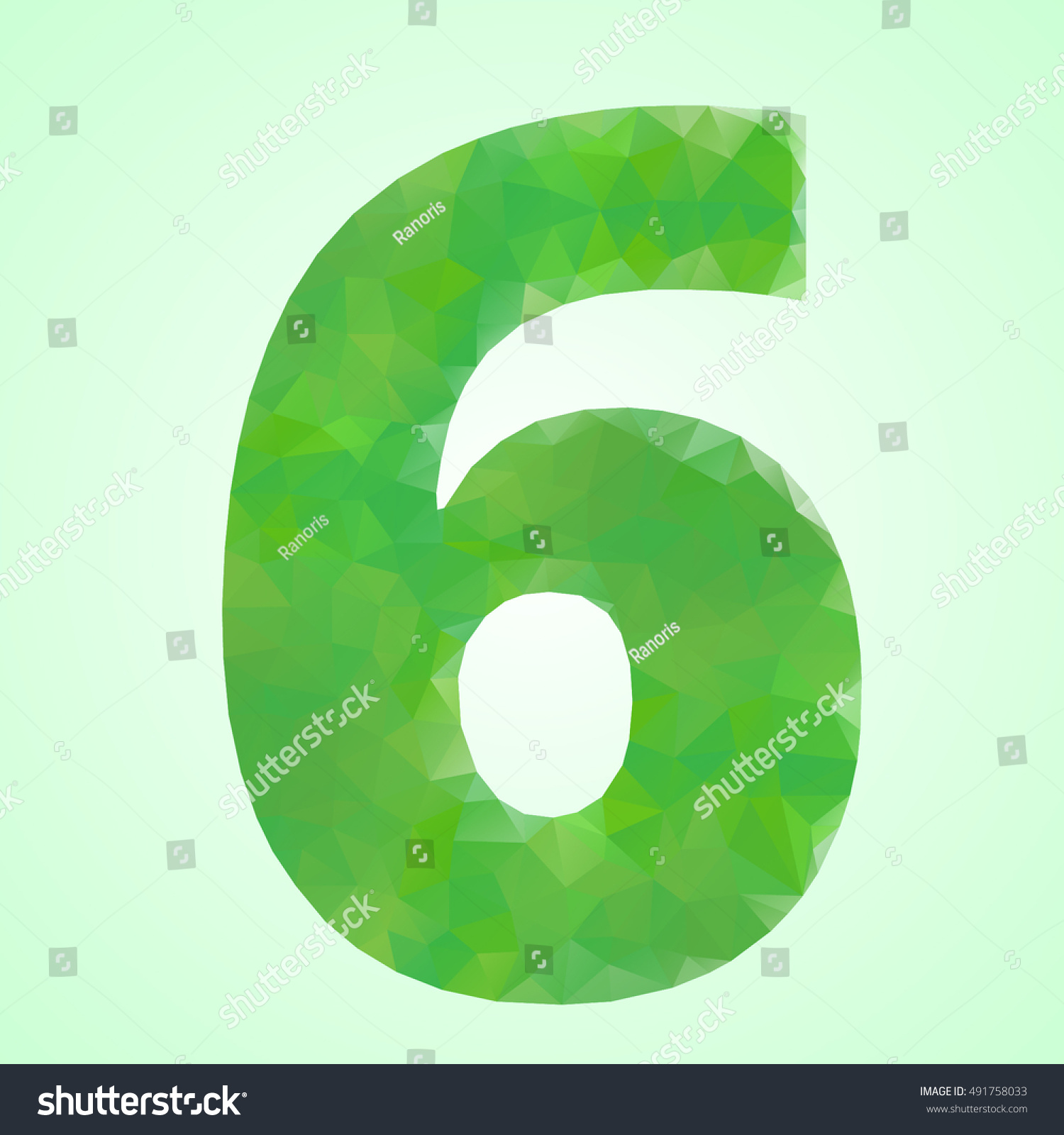 Number 6 Color Green Crystal Style Stock Vector 491758033 - Shutterstock