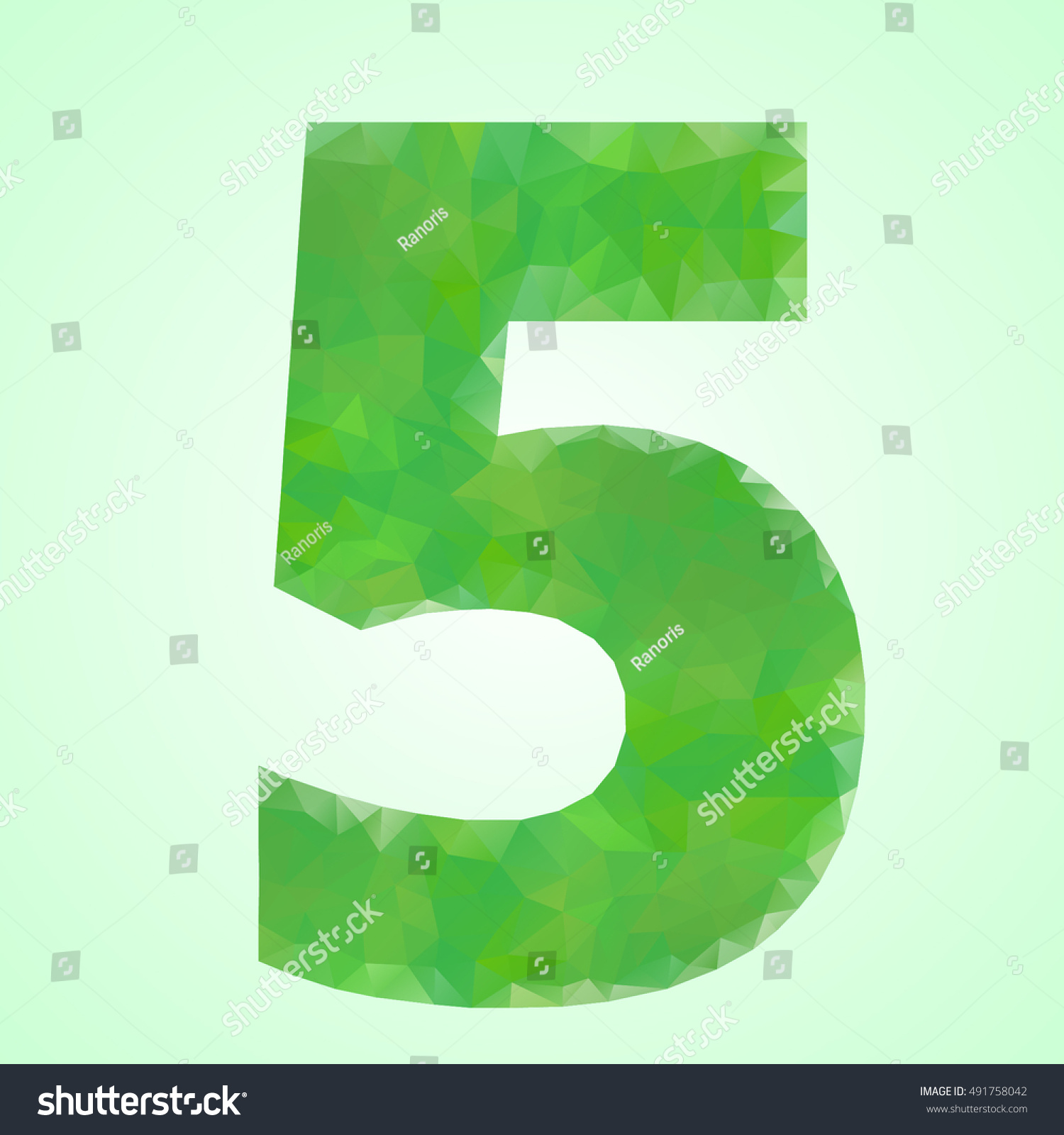 Number 5 Color Green Crystal Style Stock Vector 491758042 - Shutterstock