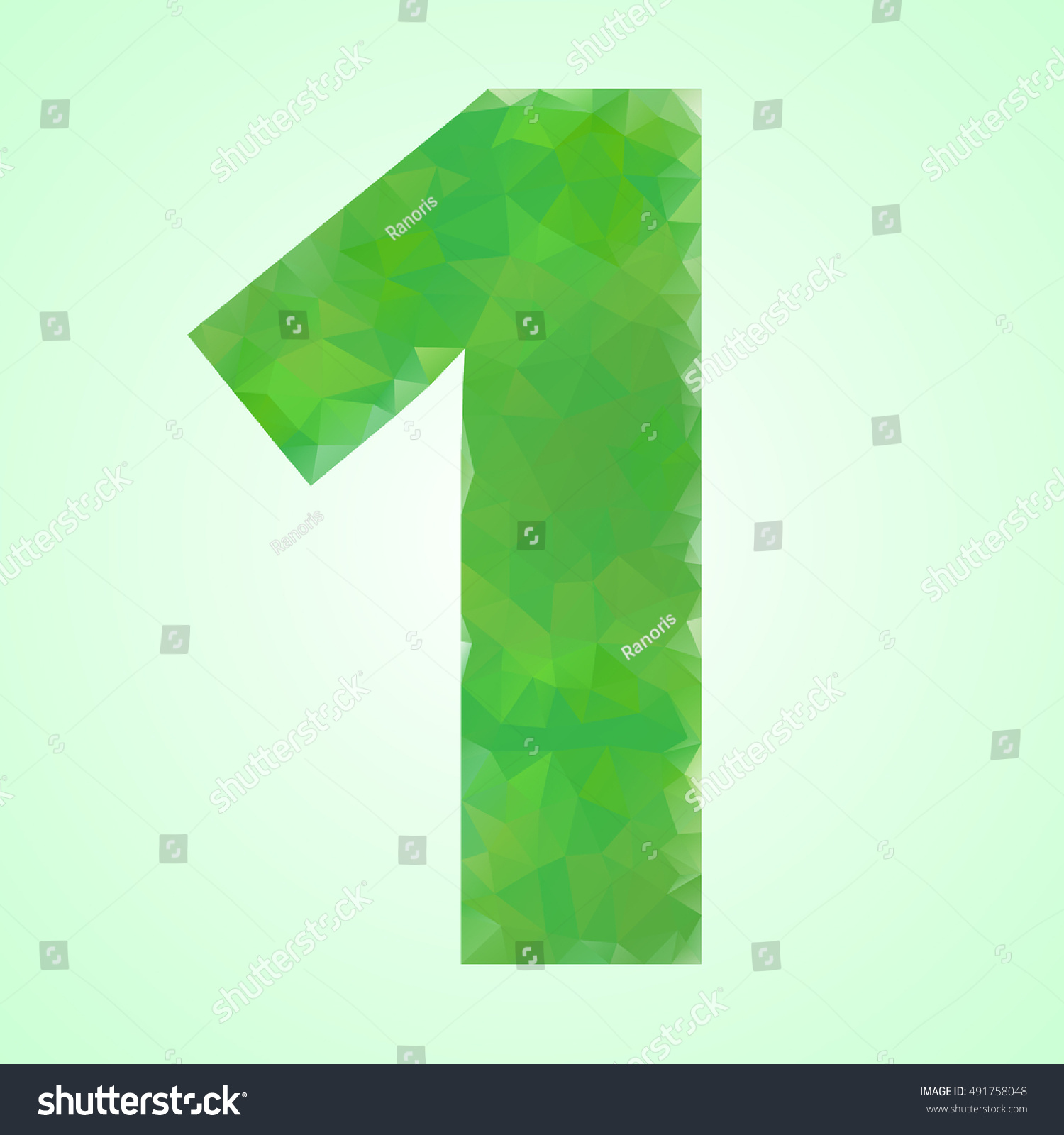 Number 1 Color Green Crystal Style Stock Vector 491758048 - Shutterstock