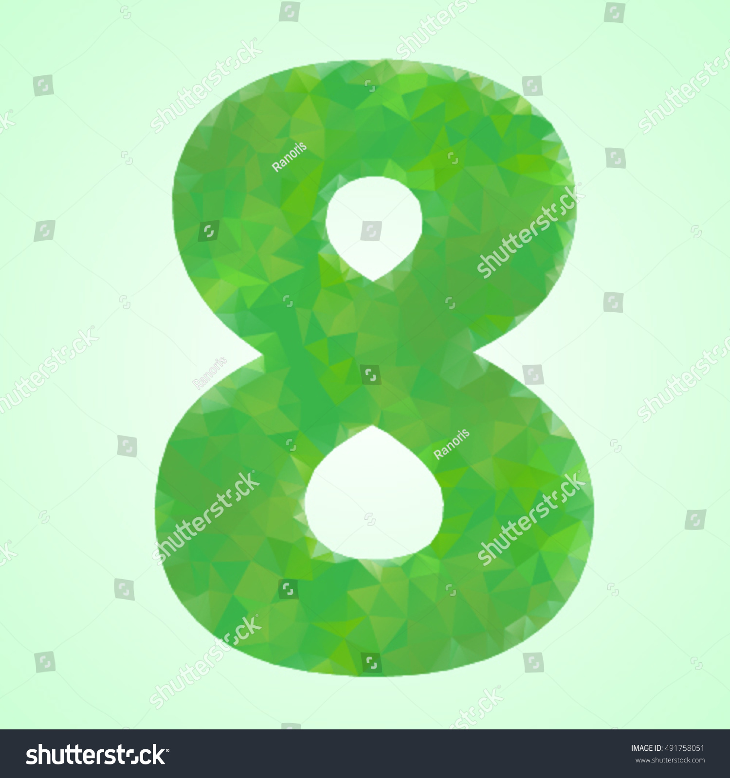 Number 8 Color Green Crystal Style Stock Vector HD (Royalty Free ...