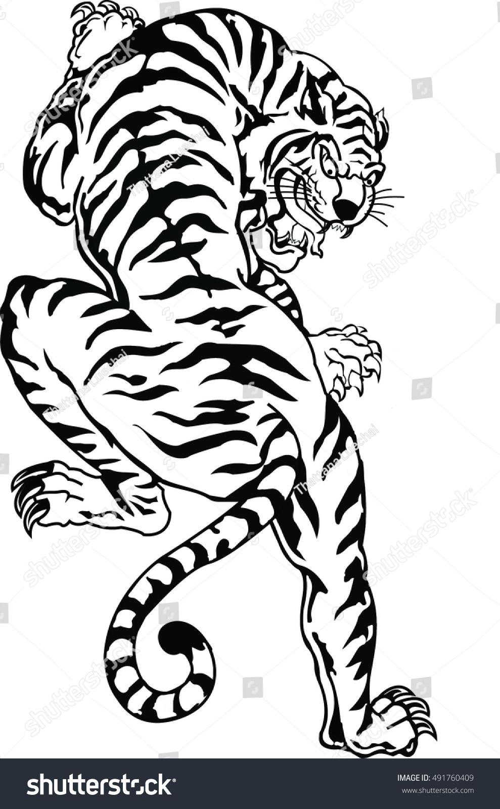 152b72cc Bengal Tiger Tattoo Stock Vector (Royalty Free) 491760409