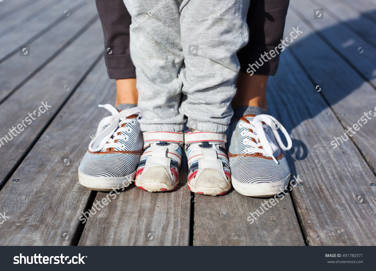 Childrens Legs Feet Shoes Adult Sneakers Stock Photo ...