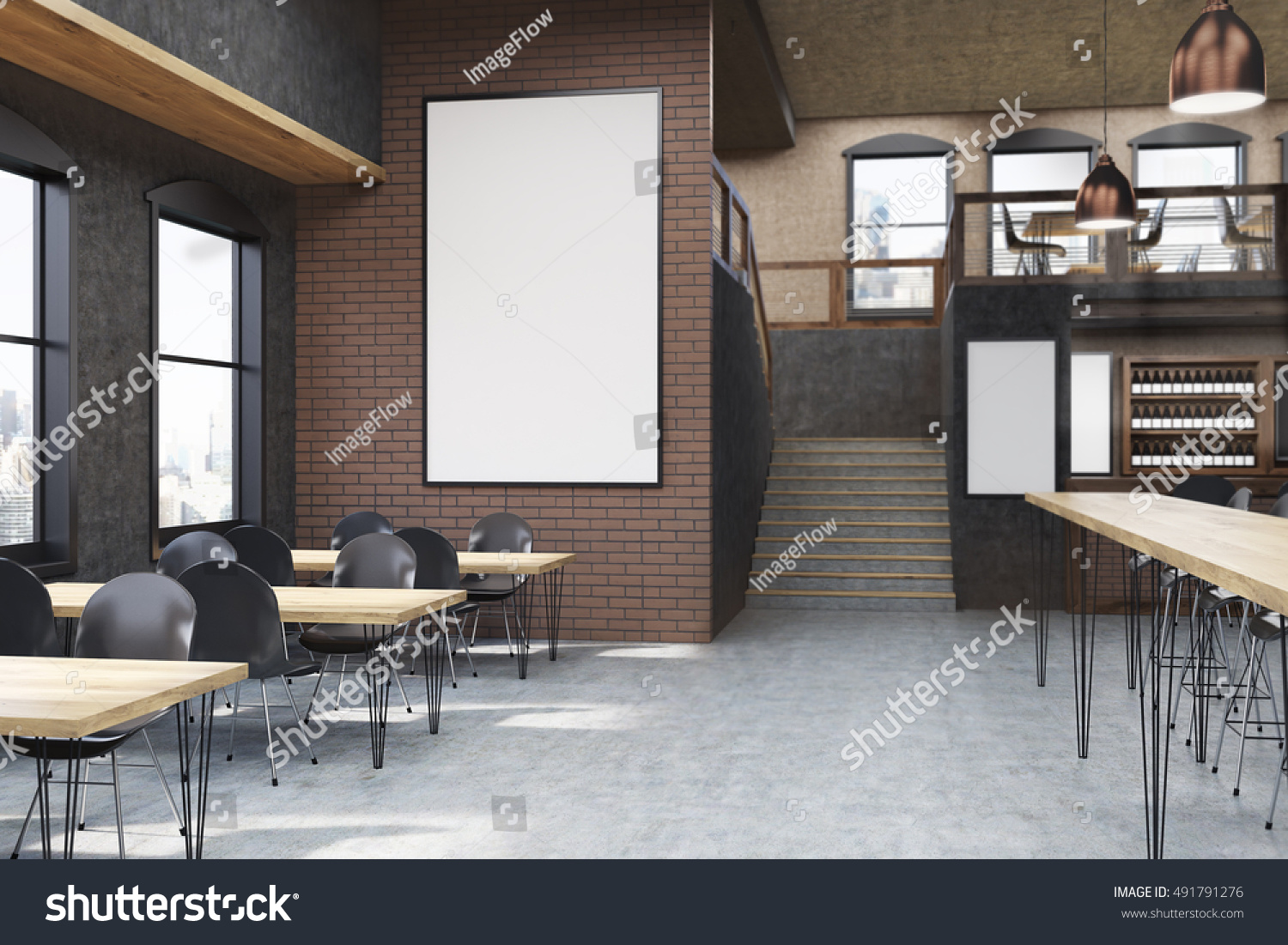 Cafe interior posters tables chairs concept stock