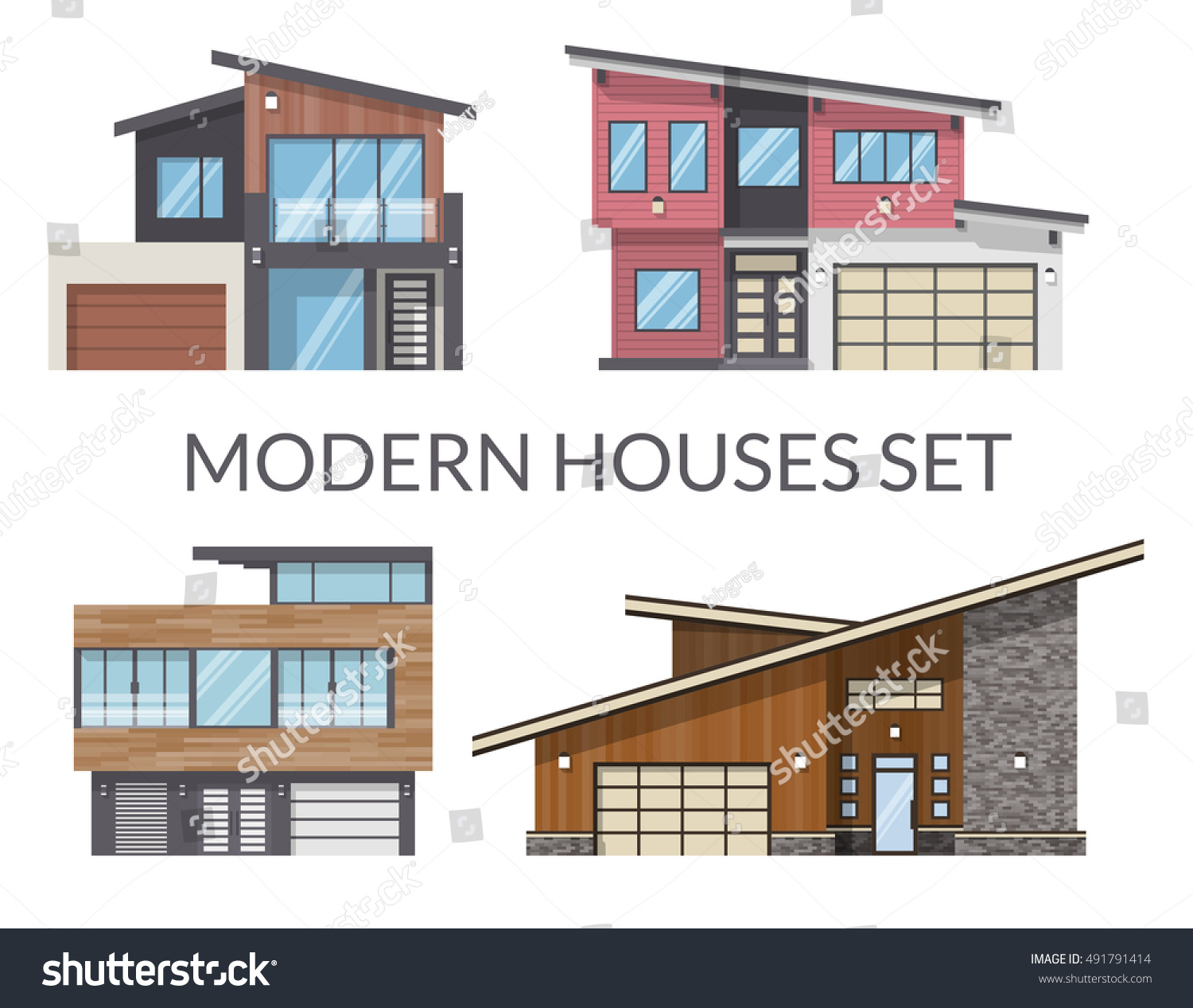 Modern Houses Set Real Estate Signs Stock Vector 491791414