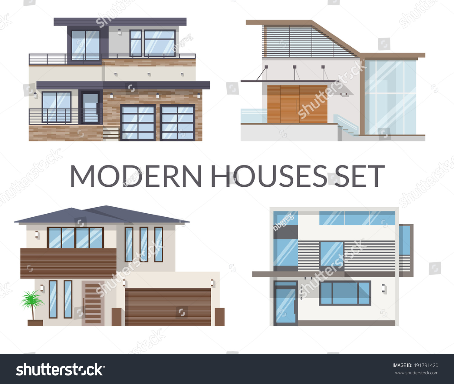 Modern houses set real estate signs stock vector 491791420 for Modern house real estate