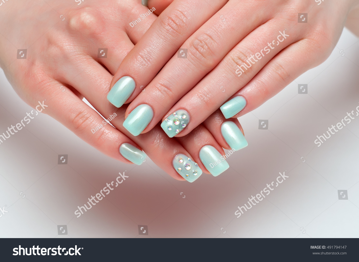 Gentle Mint Wedding Manicure Crystals On Stock Photo (Royalty Free ...