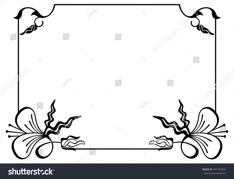 Silhouette flower frame simple black white stock vector royalty silhouette flower frame simple black and white frame with abstract flowersctor clip art mightylinksfo