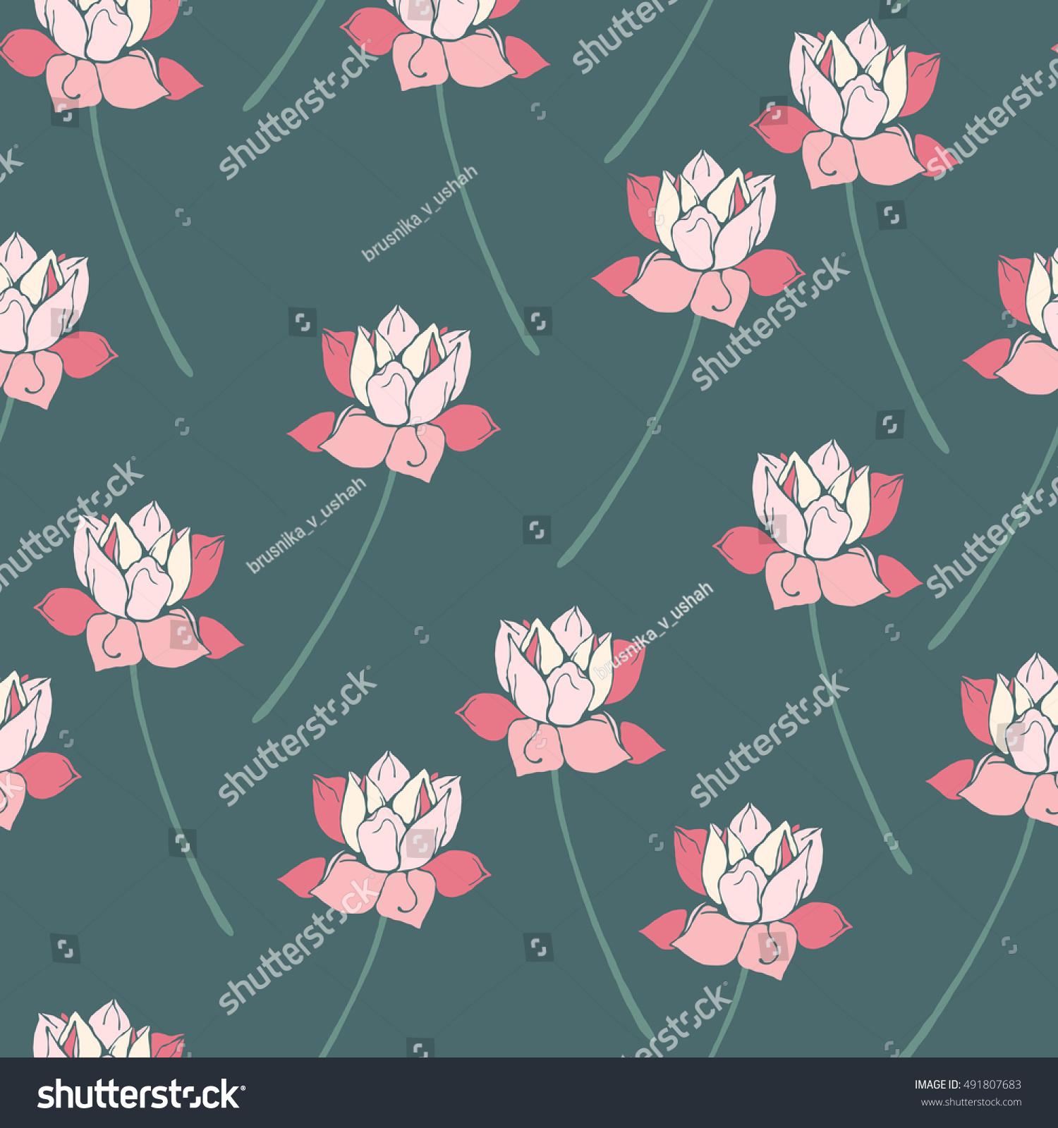 Botanical lotus flower seamless pattern vector ez canvas id 491807683 izmirmasajfo