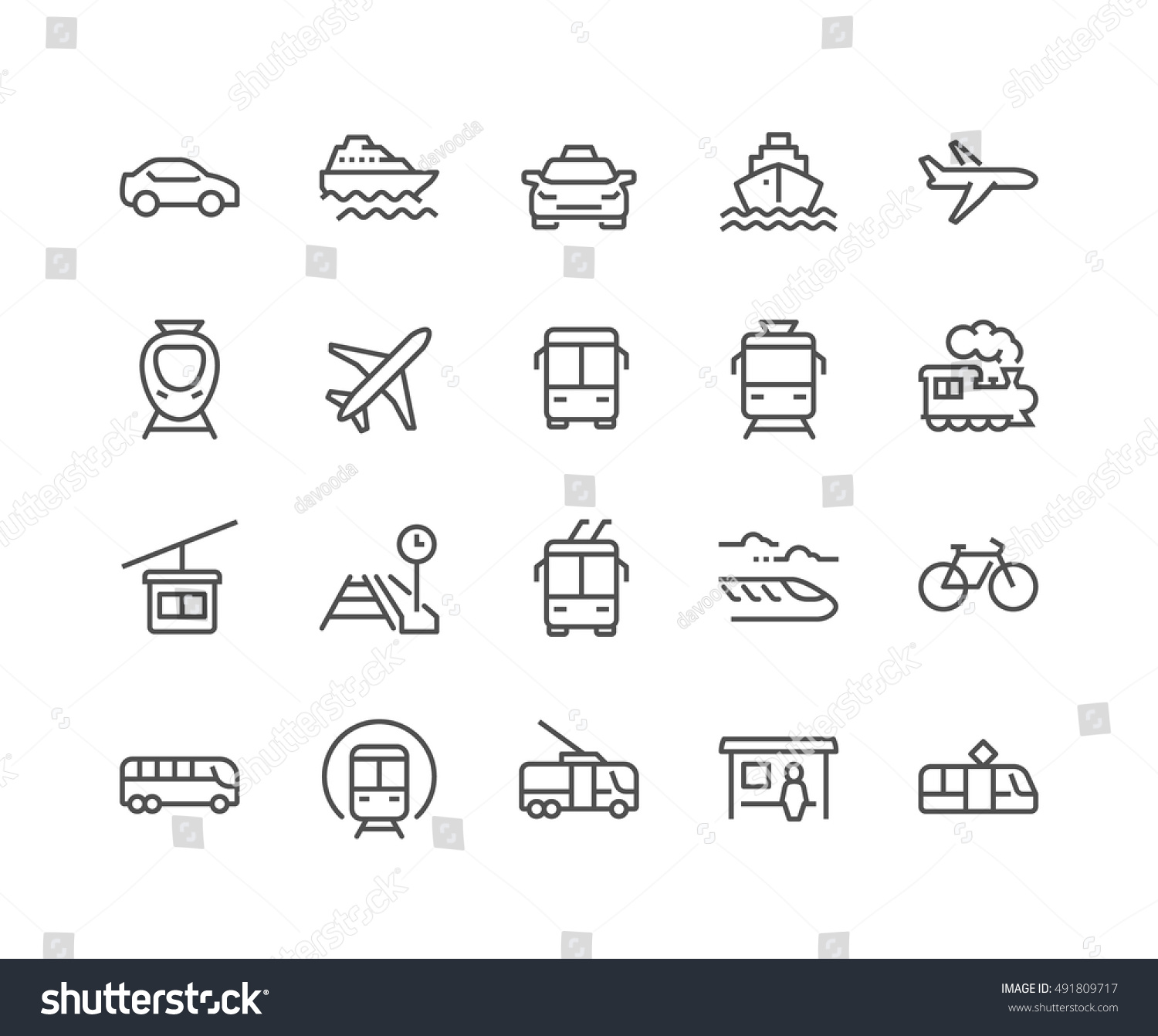 Simple Set of Public Transport Related Vector Line Icons.  Contains such Icons as Taxi, Train, Tram and more. Editable Stroke. 48x48 Pixel Perfect. #491809717