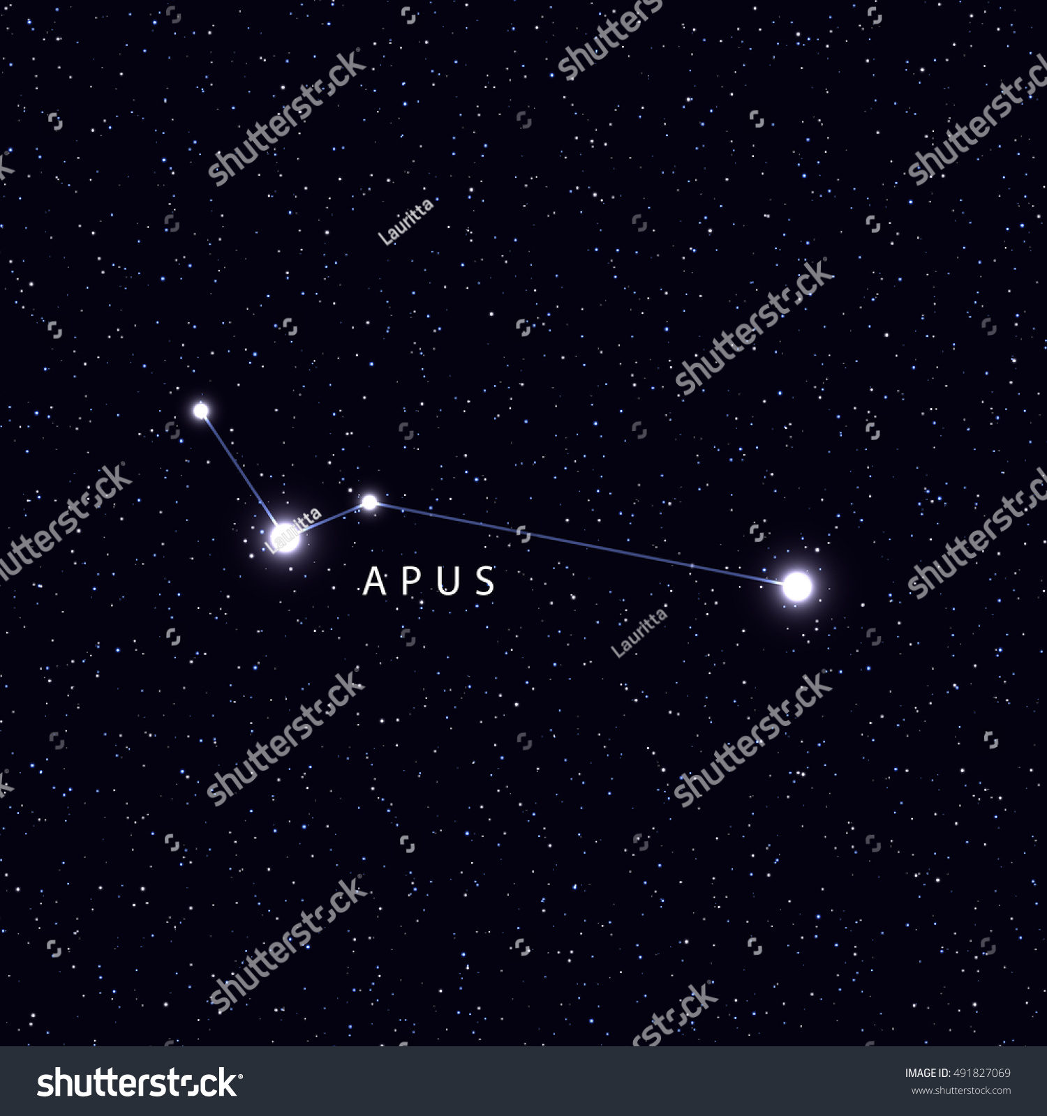 Sky Map Name Stars Constellations Astronomical Stock Vector (Royalty ...