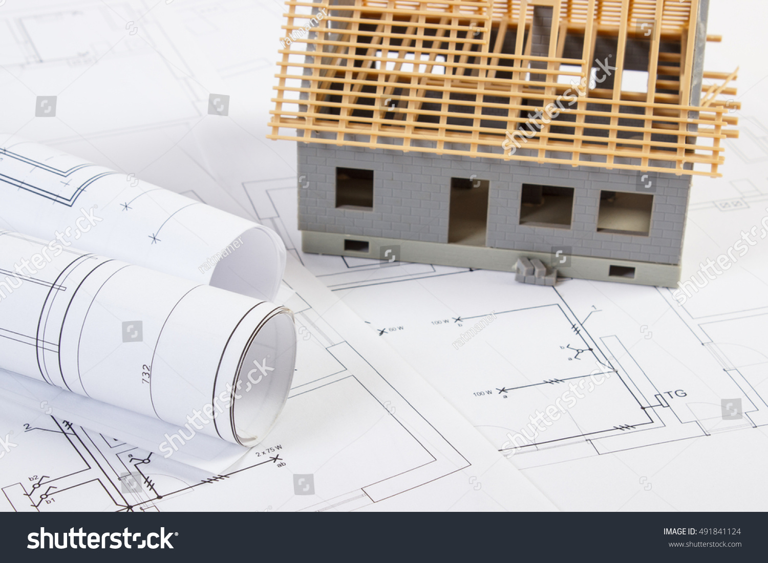 Small House Under Construction Rolls Diagrams Stock Photo (Edit Now ...