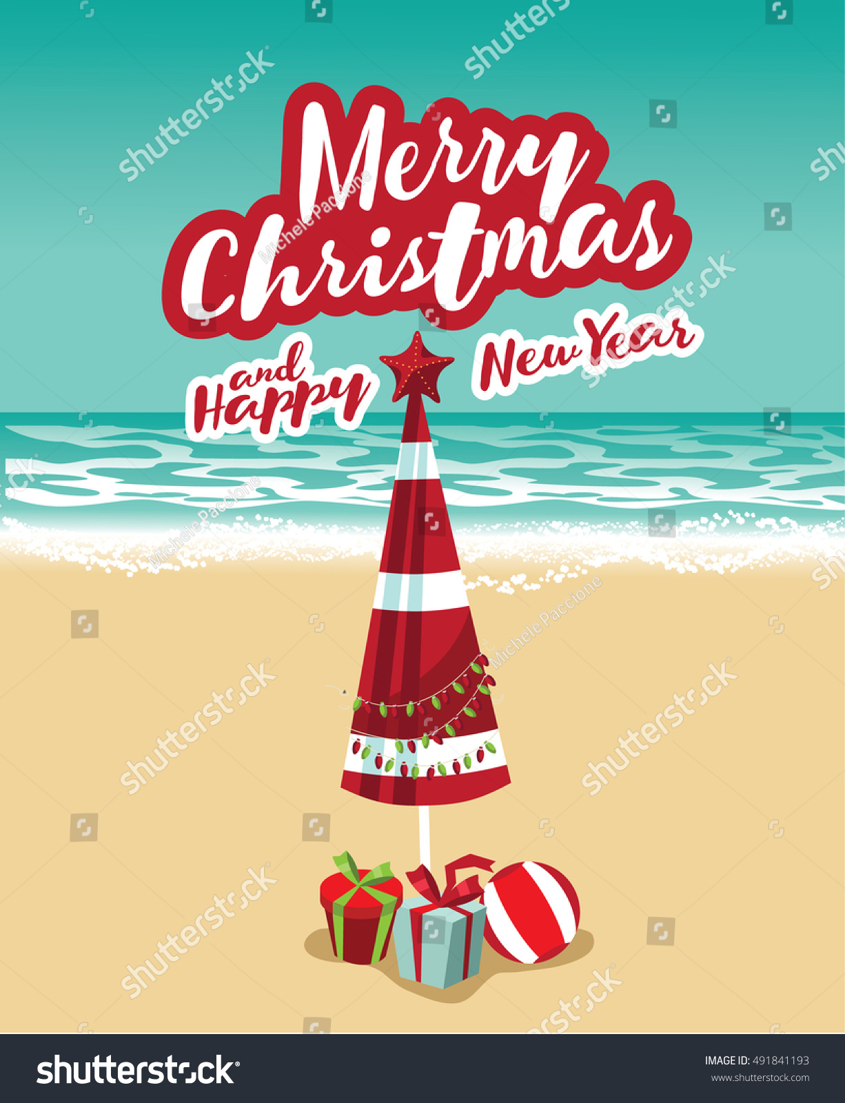 merry christmas and a happy new year in a warm climate design beach umbrella christmas - Merry Christmas Beach