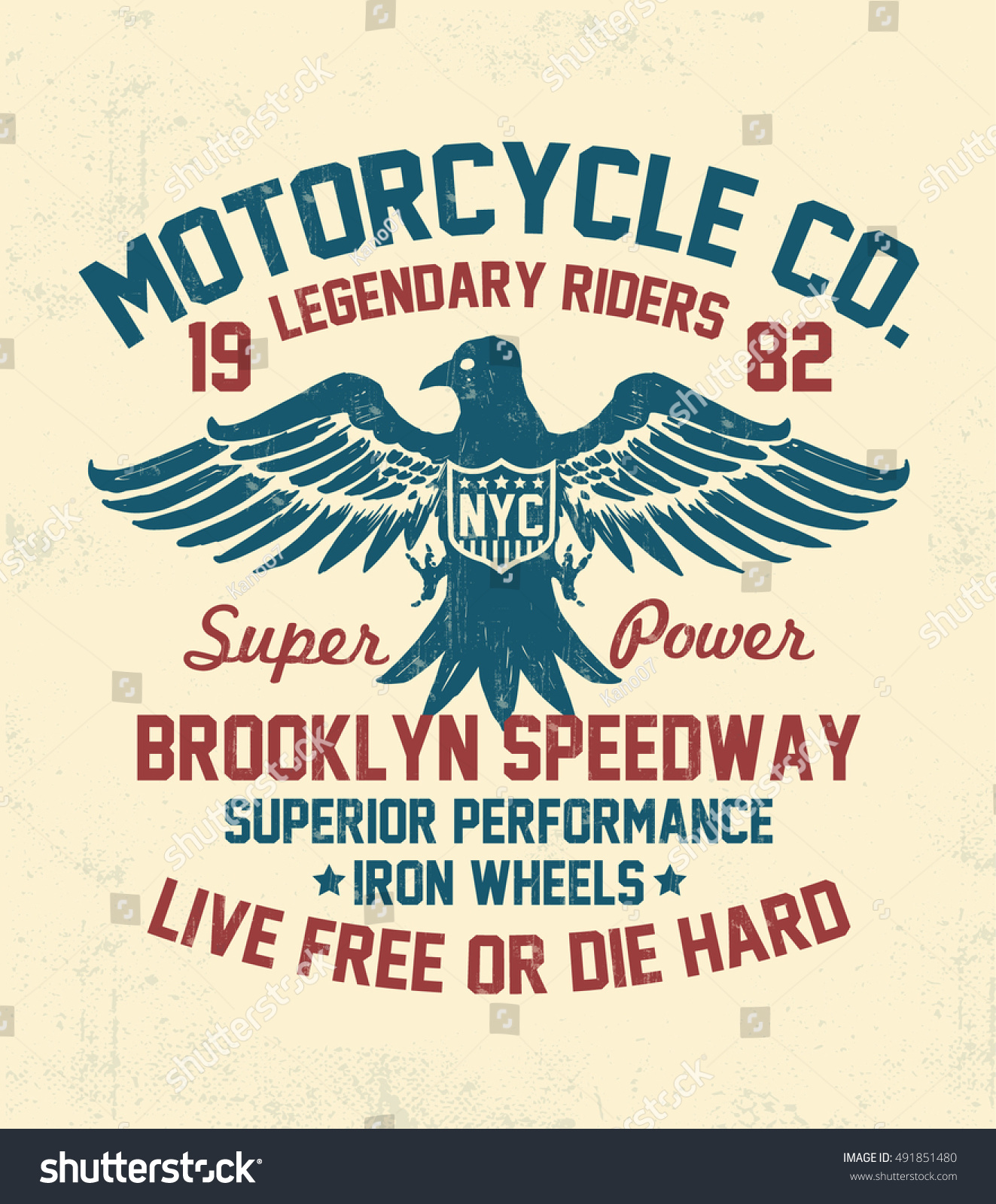 Motorcycle typography with eagle illustration t-shirt graphics vectors