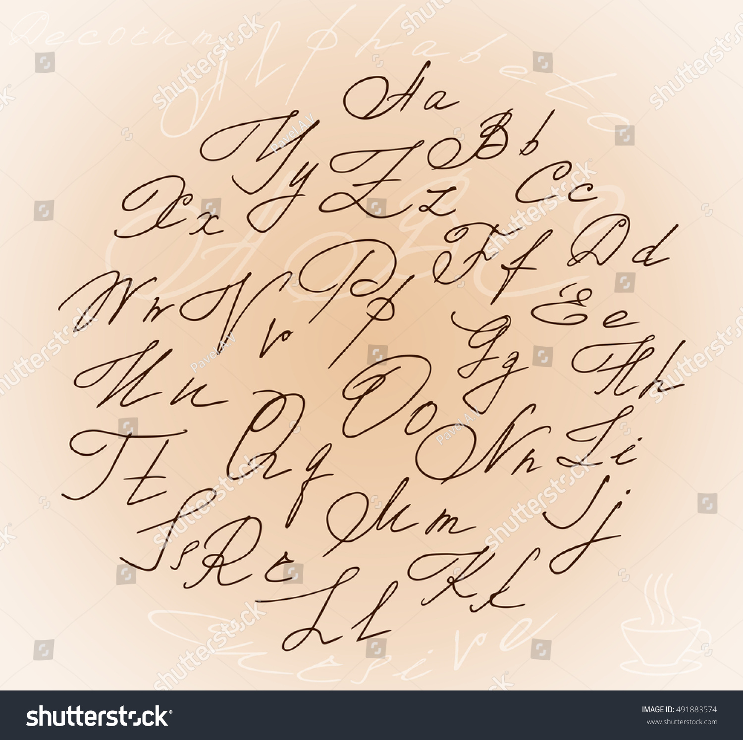 Beautiful Stylized Letters Cursive Alphabet Inside The Circle And A Bonus In Form Of