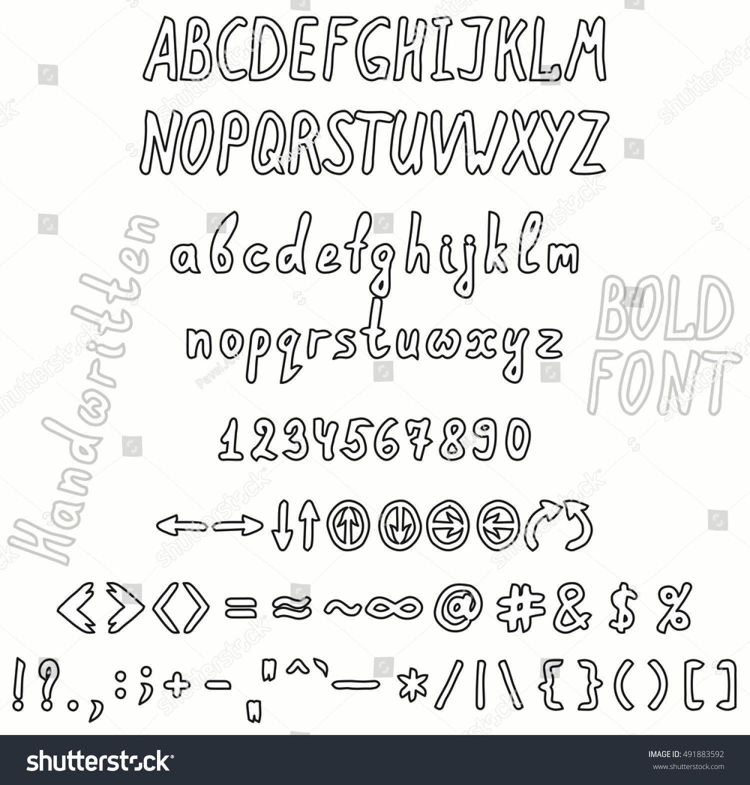 Bold handwritten font invert set numbers stock vector 491883592 the set of numbers of uppercase and lowercase letters punctuation marks buycottarizona Choice Image
