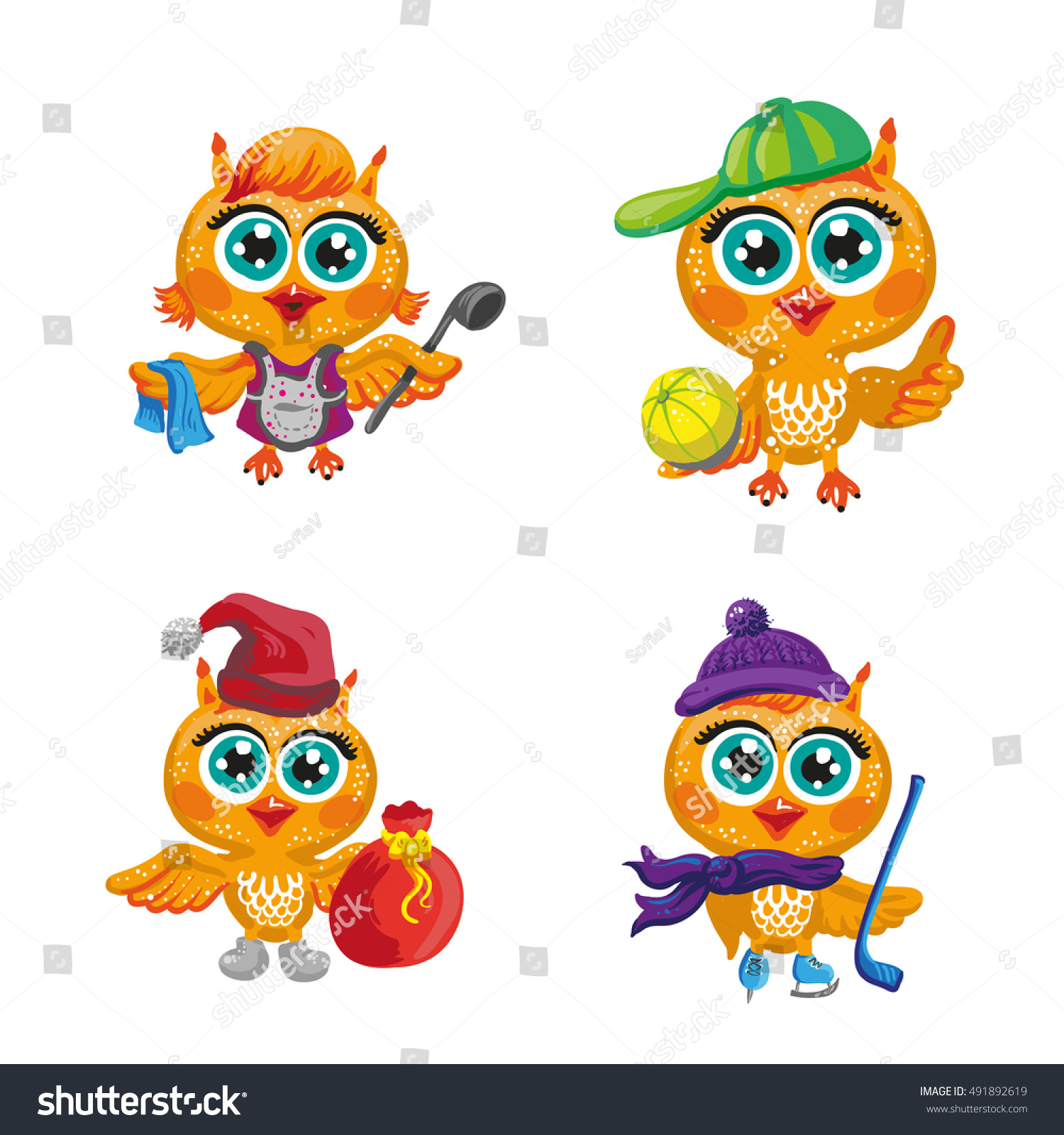 Cute Owl Vector Set Cute Owls Stock Vector 491892619 ...
