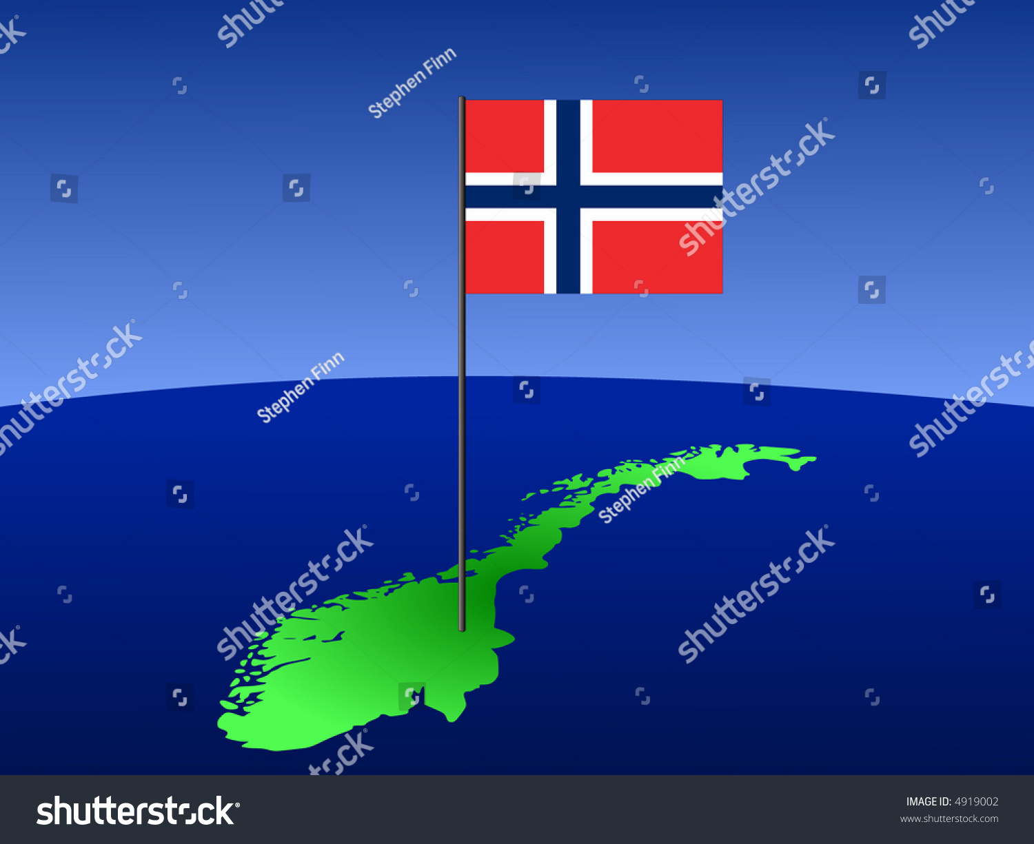 map norway norwegian flag on pole stock vector 4919002 shutterstock