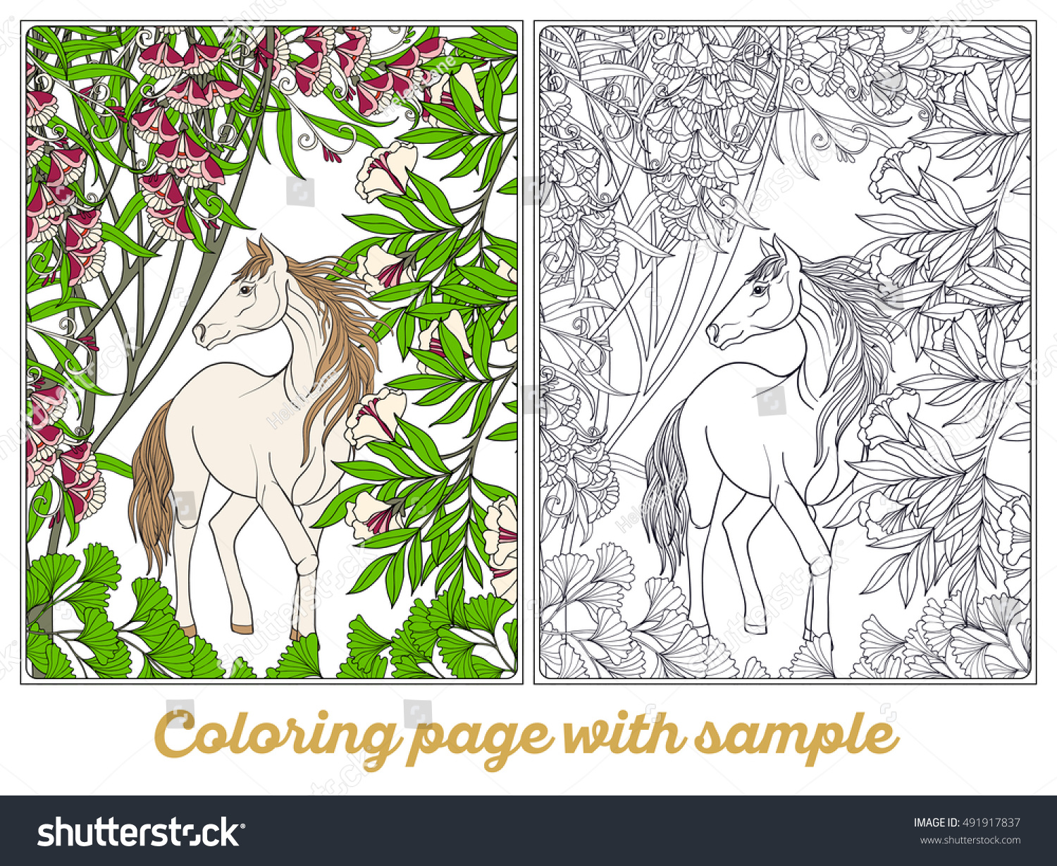 Horse Garden Vector Illustration Coloring Book Stock Vector ...