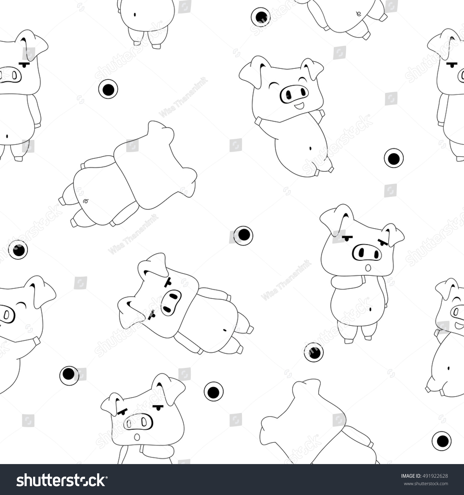 Seamless Pattern Cute Pigs Isolate White Stock Vector
