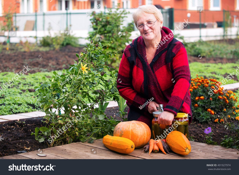 Woman Autumn Garden Preserves Vegetables Glass Stock Image