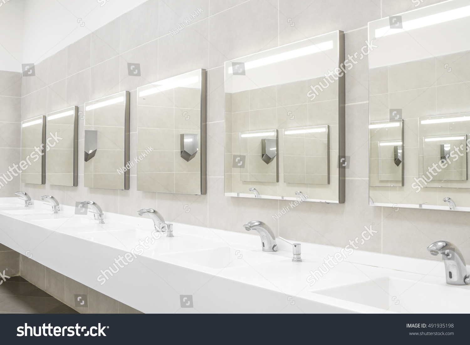Commercial Bathroom Washing Hands Stock Photo & Image (Royalty-Free ...