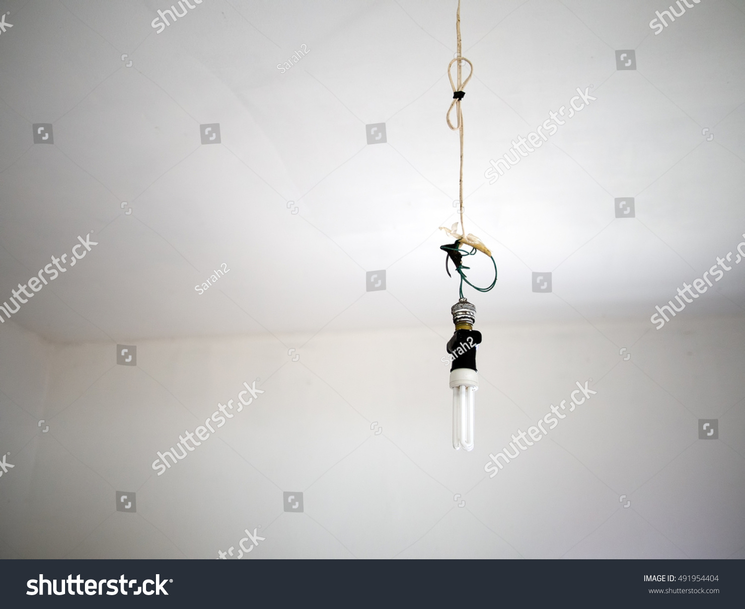 Bad Electrical Wiring Dangerous Modern Light Stock Photo Edit Now With Bulb