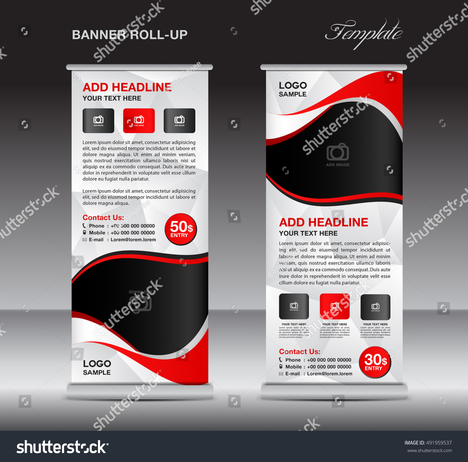 red roll banner template stand template stock vector 491959537 shutterstock. Black Bedroom Furniture Sets. Home Design Ideas