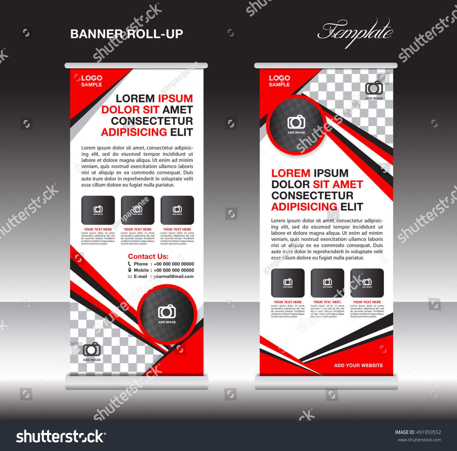 Red Roll Banner Template Stand Template Stock Vector 491959552 ...
