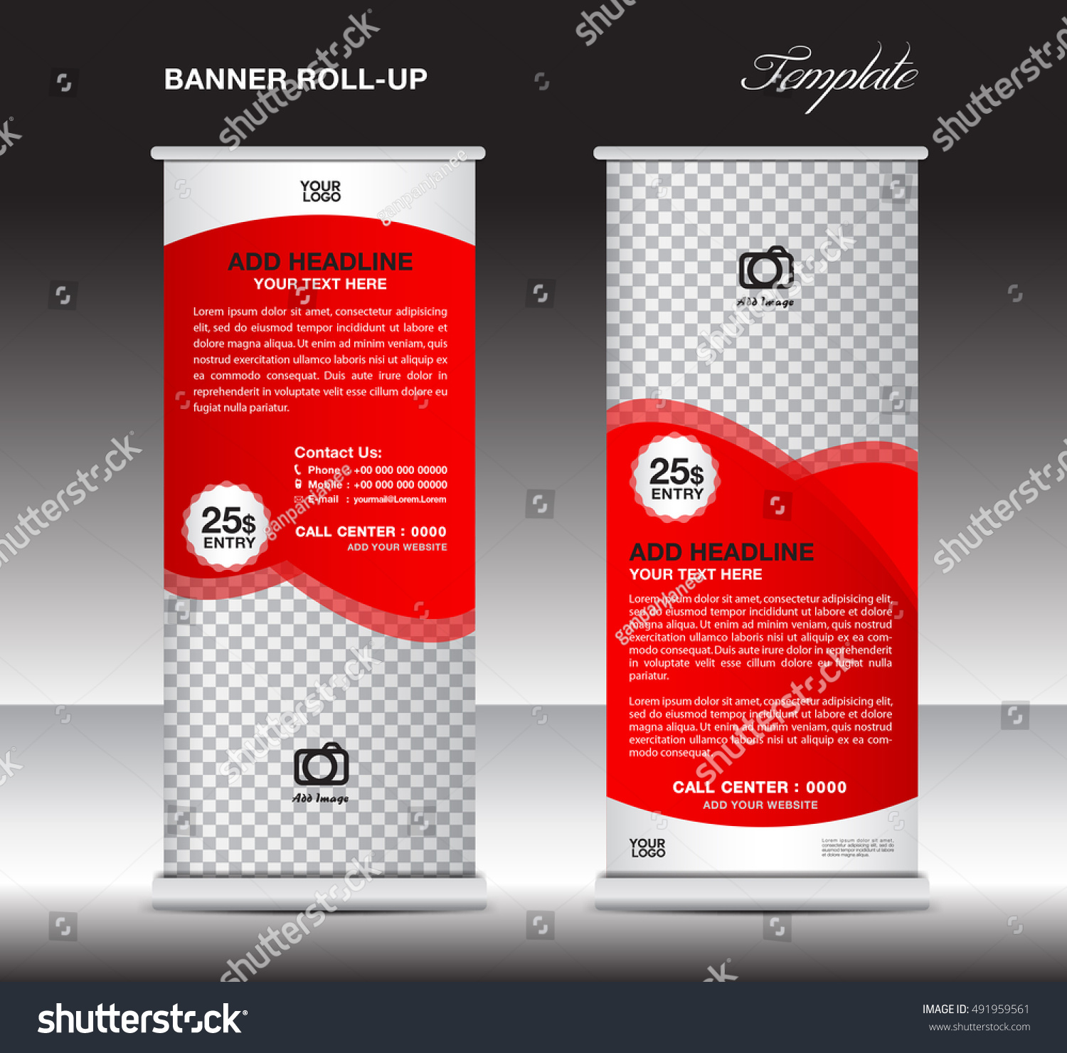 Red Roll Banner Template Stand Template Stock Vector HD (Royalty ...