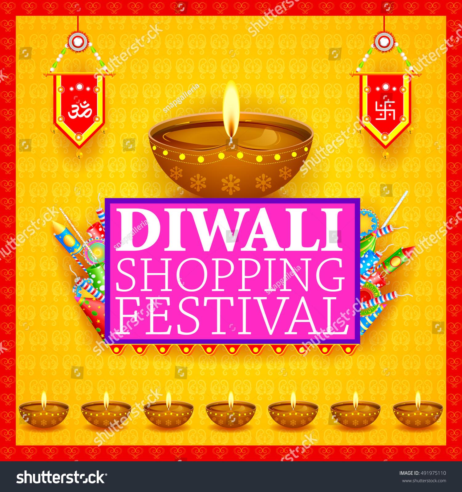 Diwali Lights Online Shop: Easy Edit Vector Illustration Happy Diwali Stock Vector