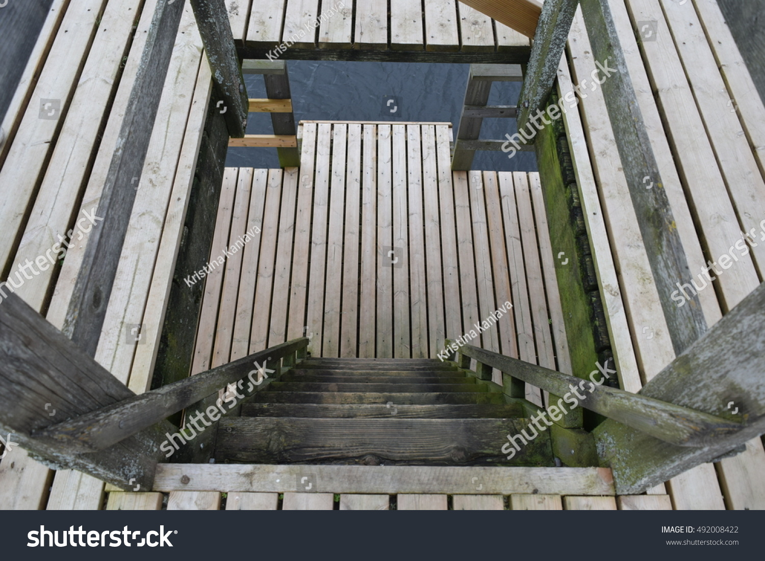 Staircase With Wooden Tower : Wooden staircase down descent tower stock photo