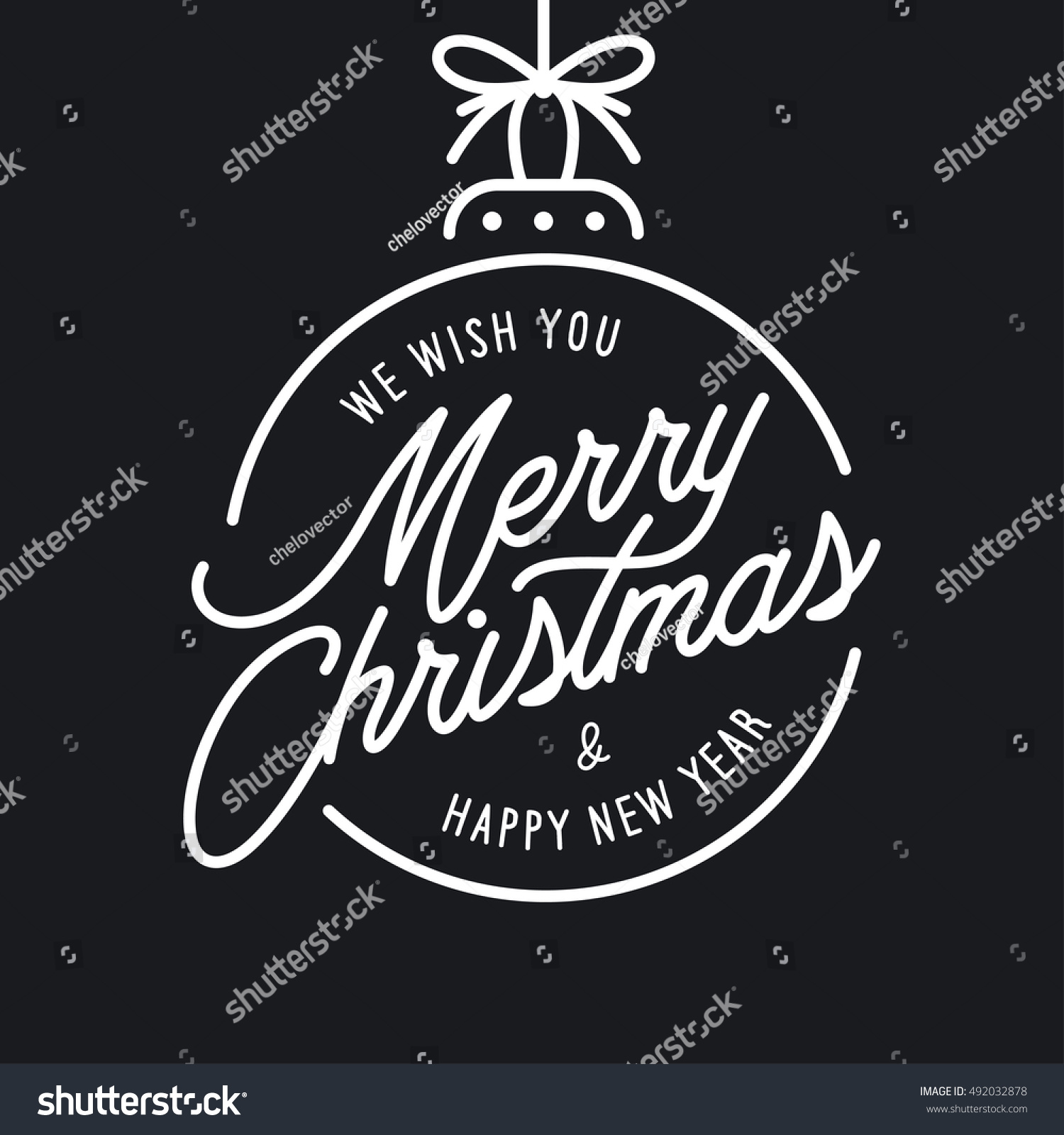 Merry Christmas Happy New Year Lettering Stock Vector 492032878 ...