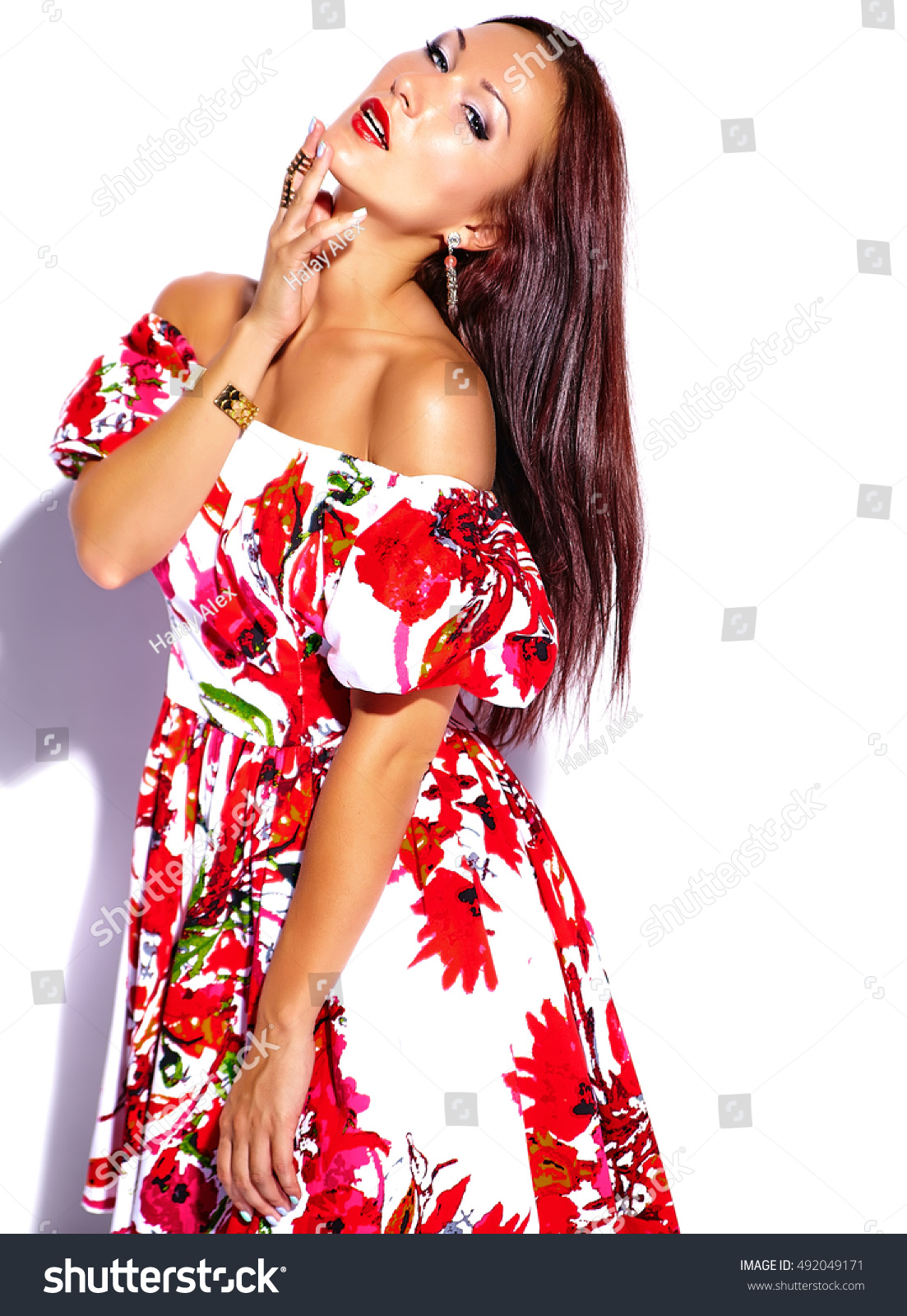 68d8ff4cfad portrait of beautiful funny sexy brunette woman girl in colorful bright  summer red dress isolated on