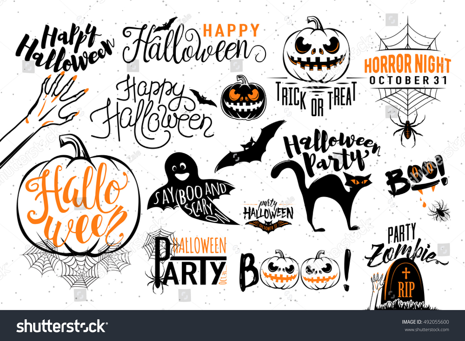 Uncategorized Halloween Symbolism happy halloween celebration icon label templates stock vector with scary symbols zombie hand bat halloween